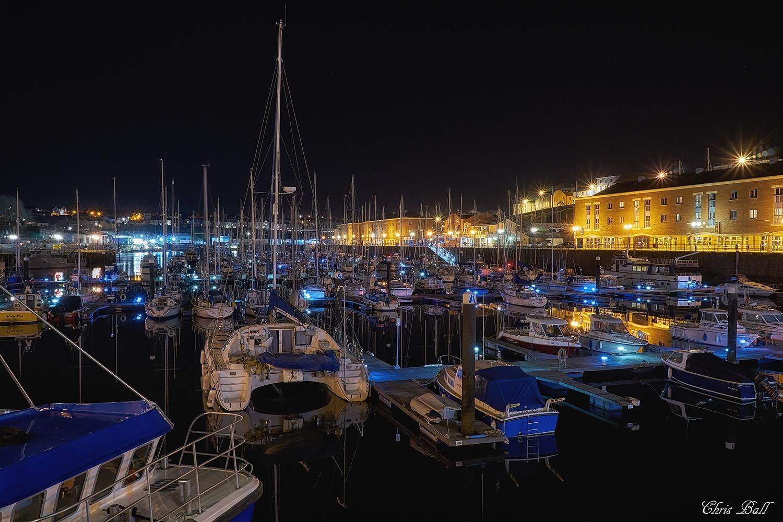Milford Haven Marina at Night by Chris Ball