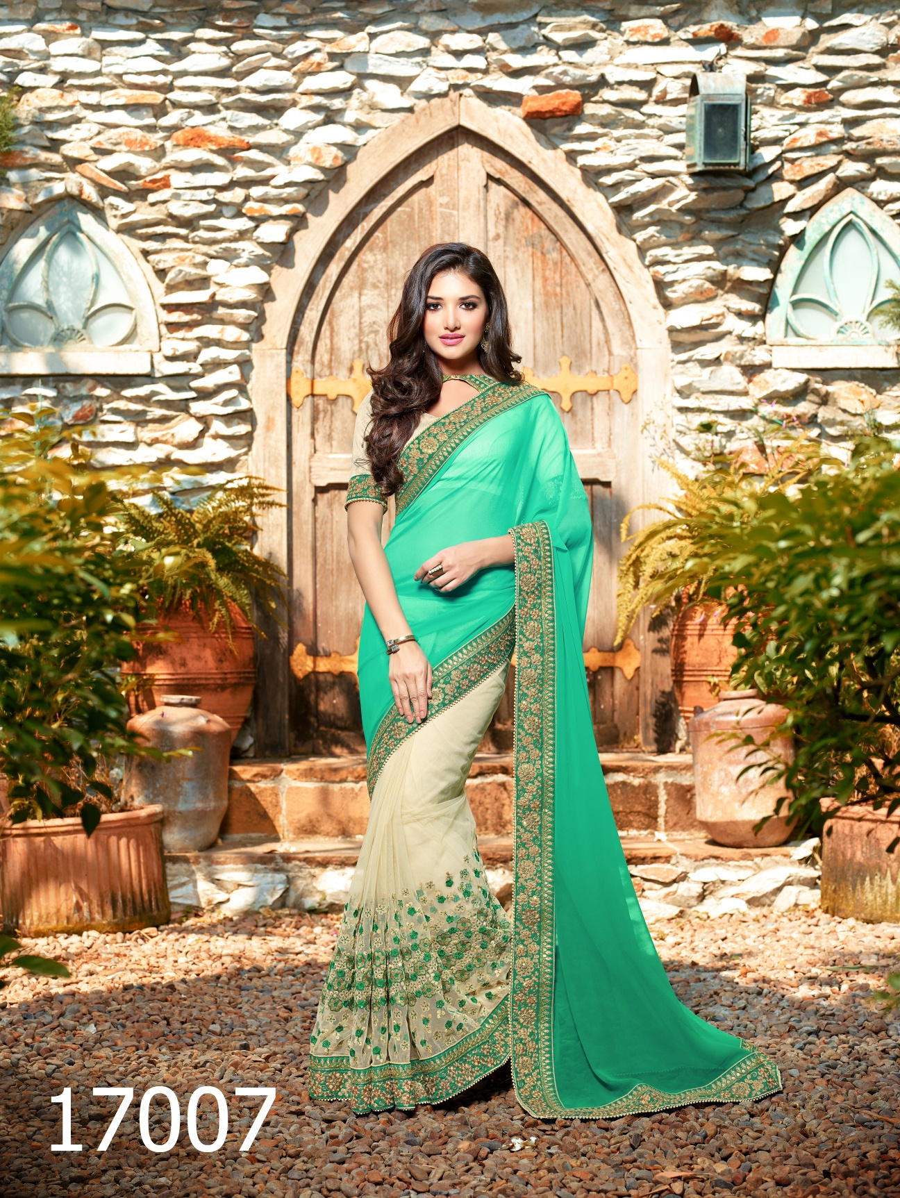 Excellent Mint Green and Cream Designer Saree by addsharesale