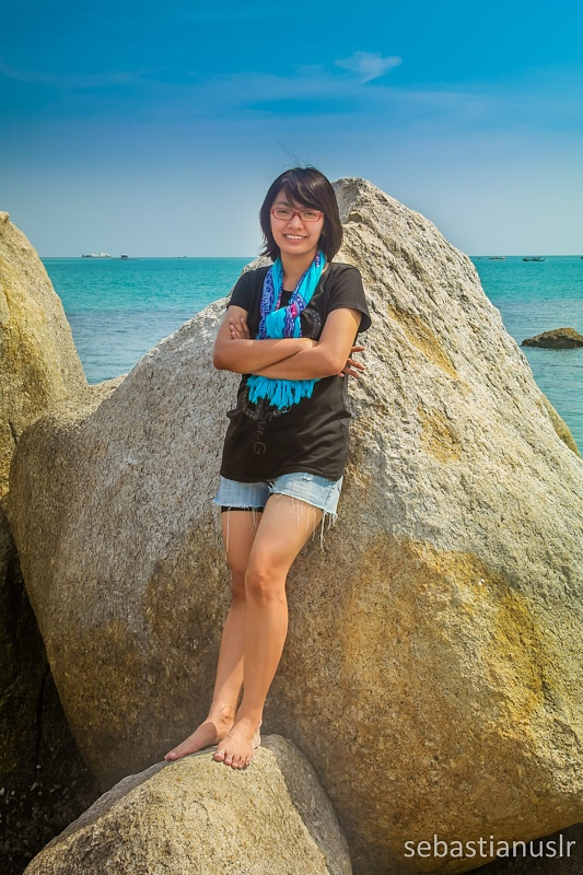 Photo in Portrait #portrait #young #girl #woman #beauty #beautiful #lady #travel #rock #sea #indonesia #belitung #ocean #sky #nature