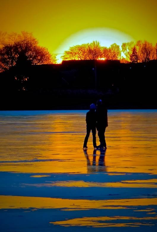 time to watch the sunset on the golden pond before going home by David Devion