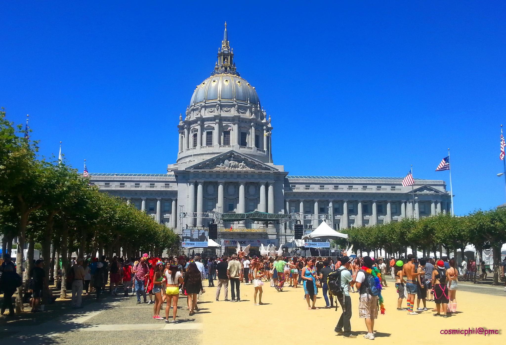 San Francisco city hall plaza. by Philip Cortland
