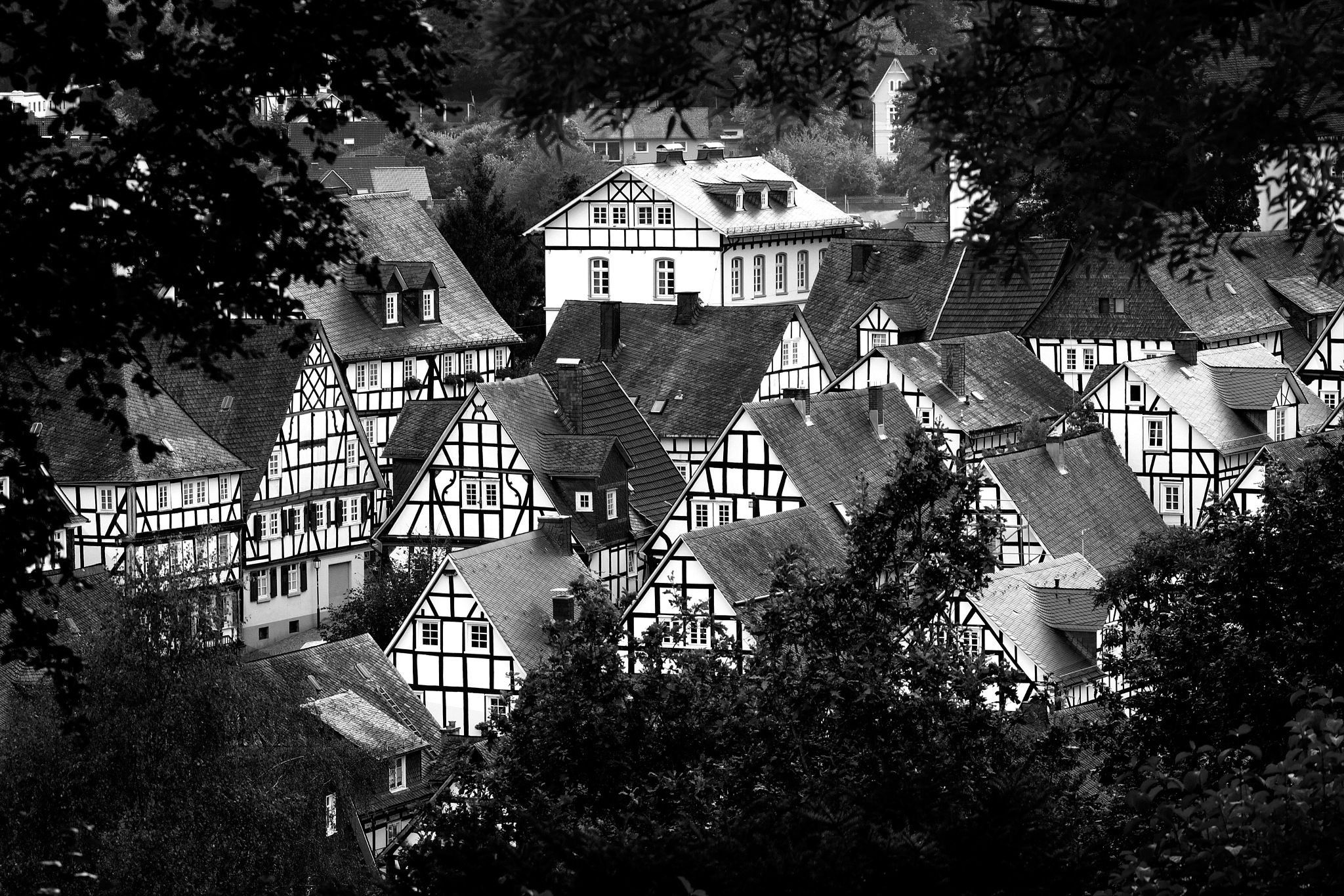 Black and white town. by Janis Straut