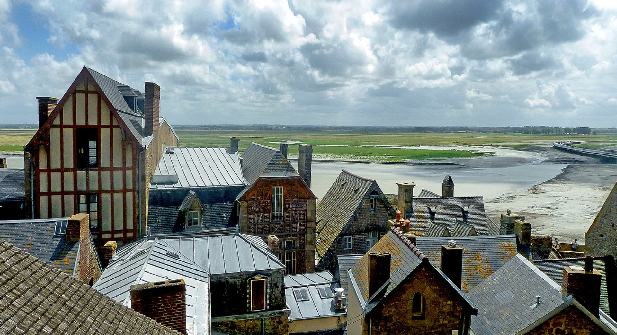 Roof Tops on Mont Saint Michael. Northern France. by Malcolm White