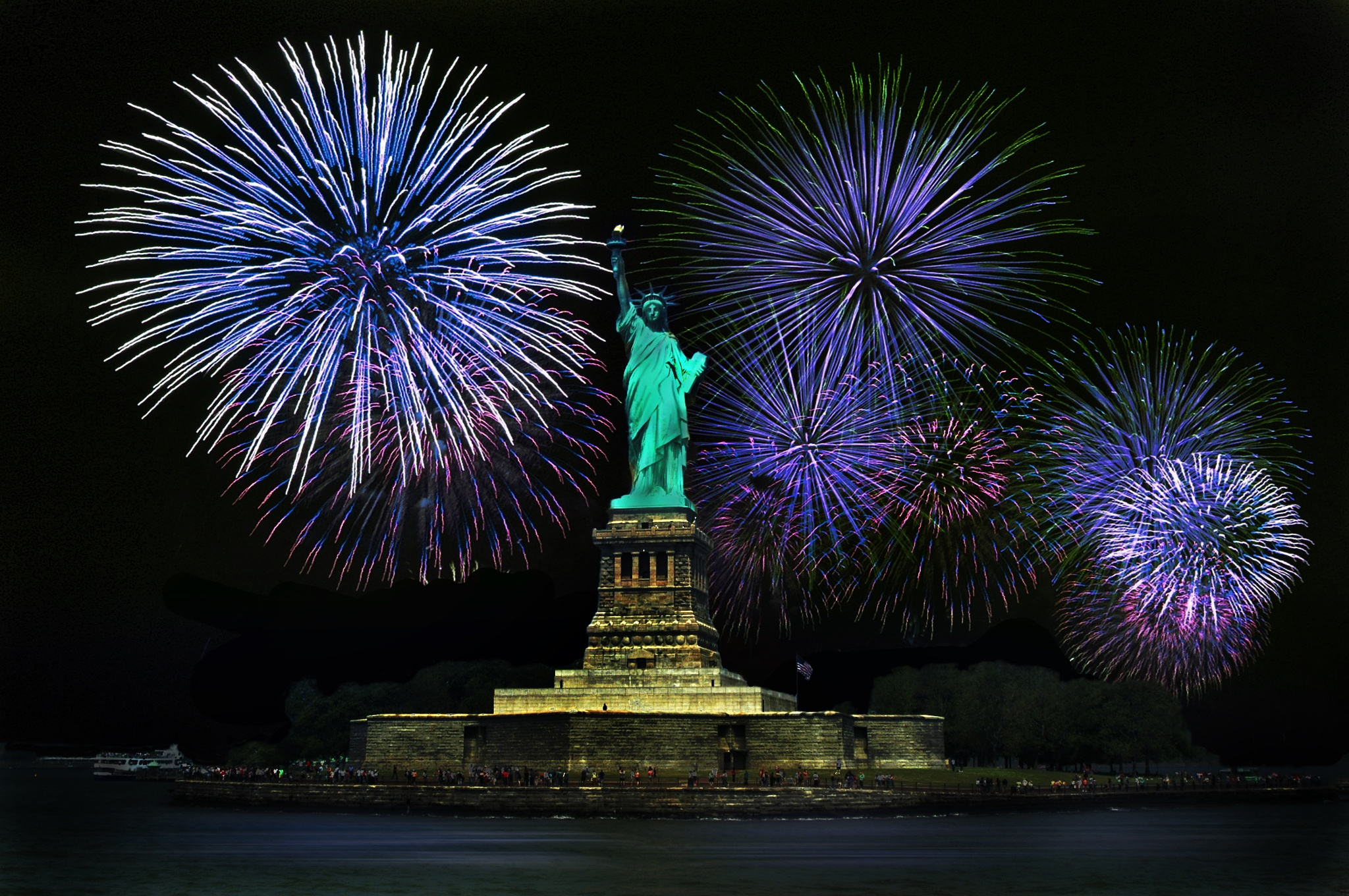 Statue of Liberty with fireworks by Germar