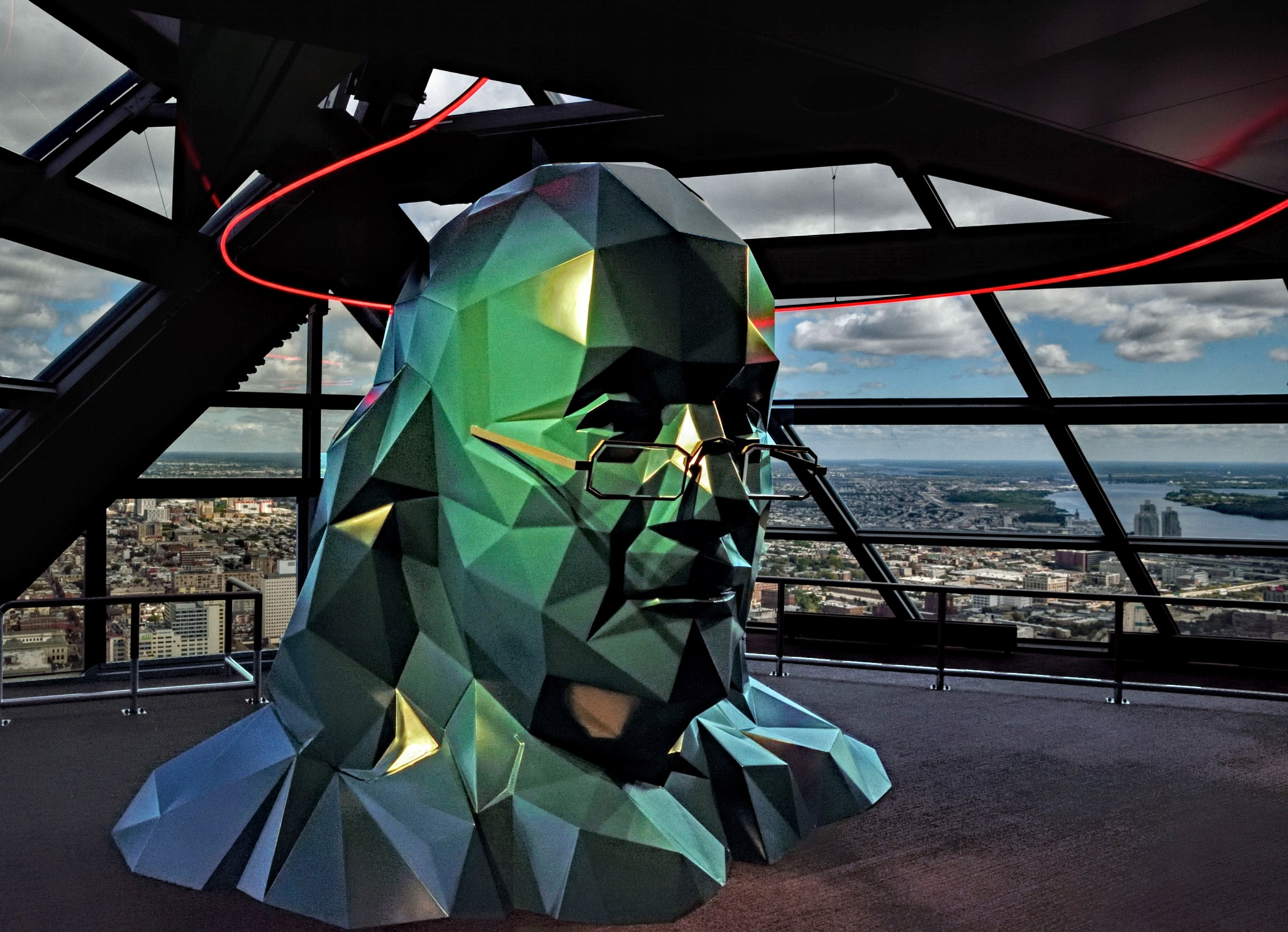 Ben Franklin with Delaware river in background by Dan McGovern