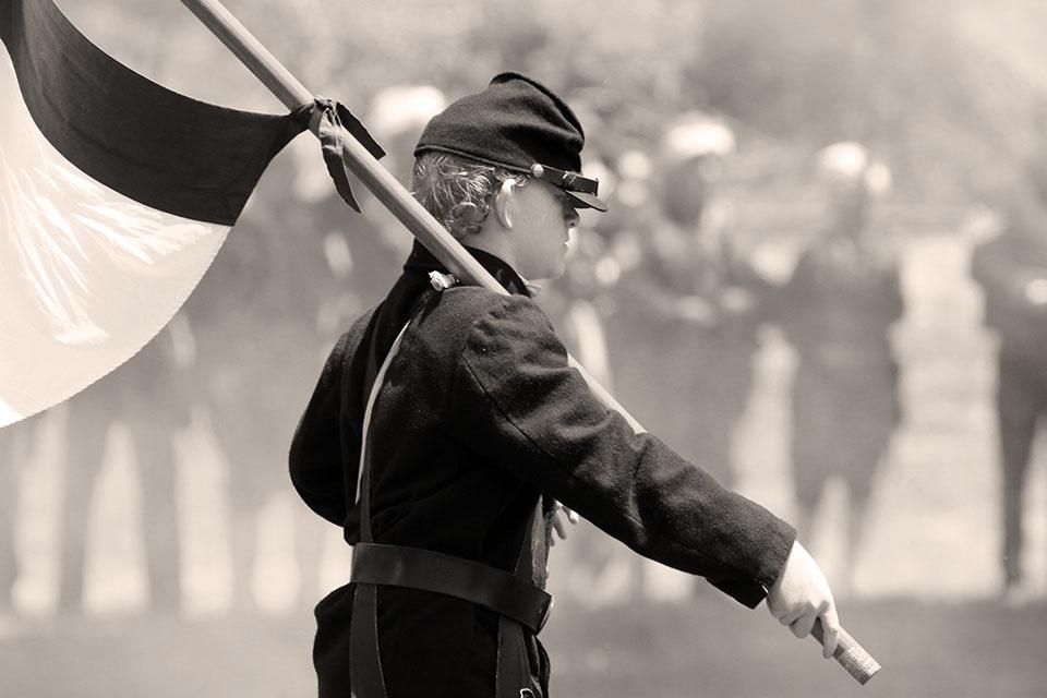 Photo in Black and White #boy #civil #war #union #flag