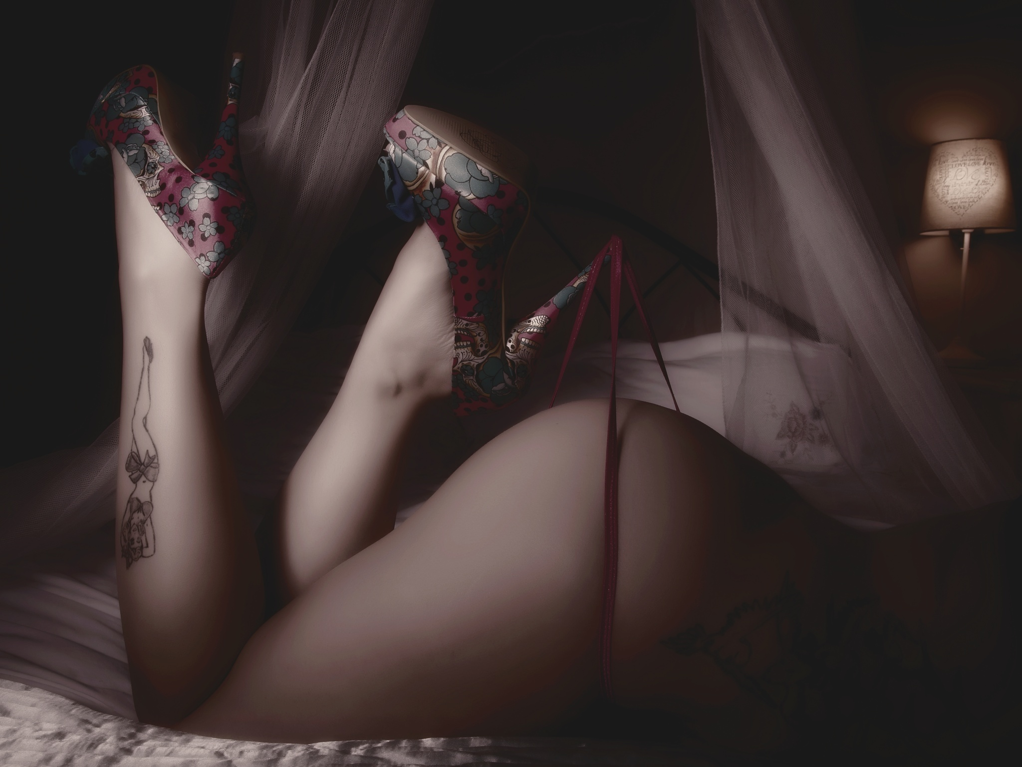 Photo in People #high heels #bum #g string #bed #lingerie #nude