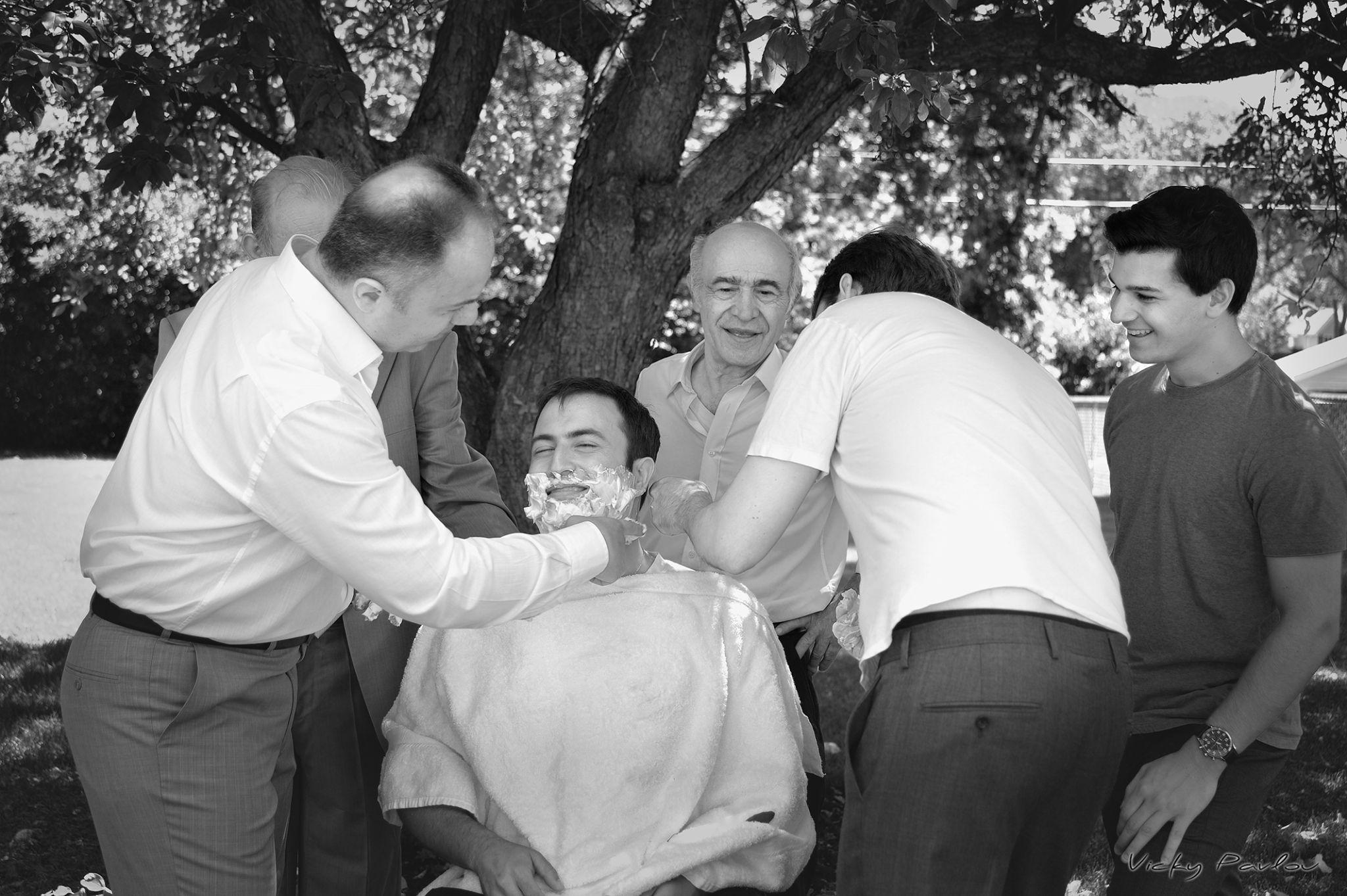 Shaving the groom by Vicky Pavlou