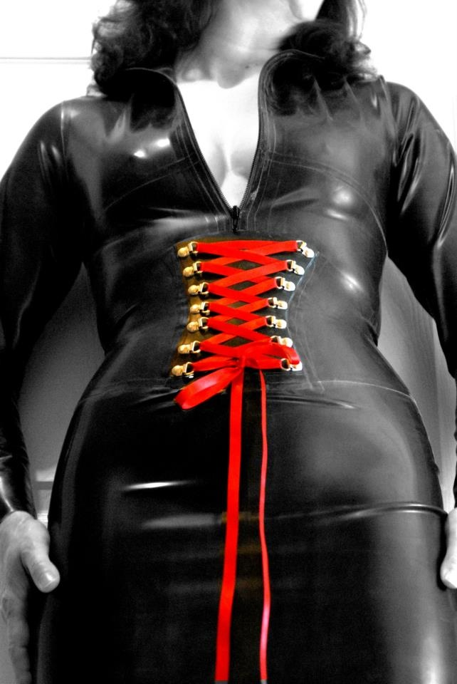 Nikki in Latex Catsuit and Tight Latex Corset Skirt by Dave Valentine