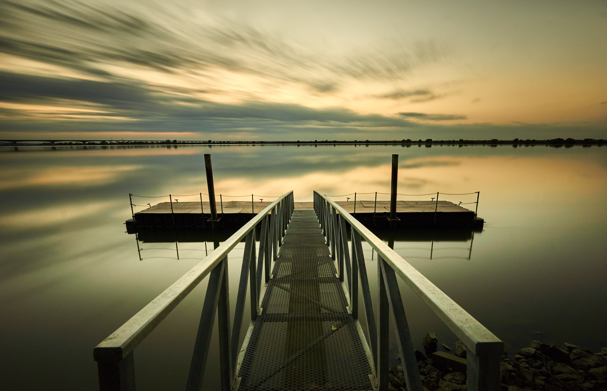 Photo in Landscape #river #lake #clouds #long exposure #pier
