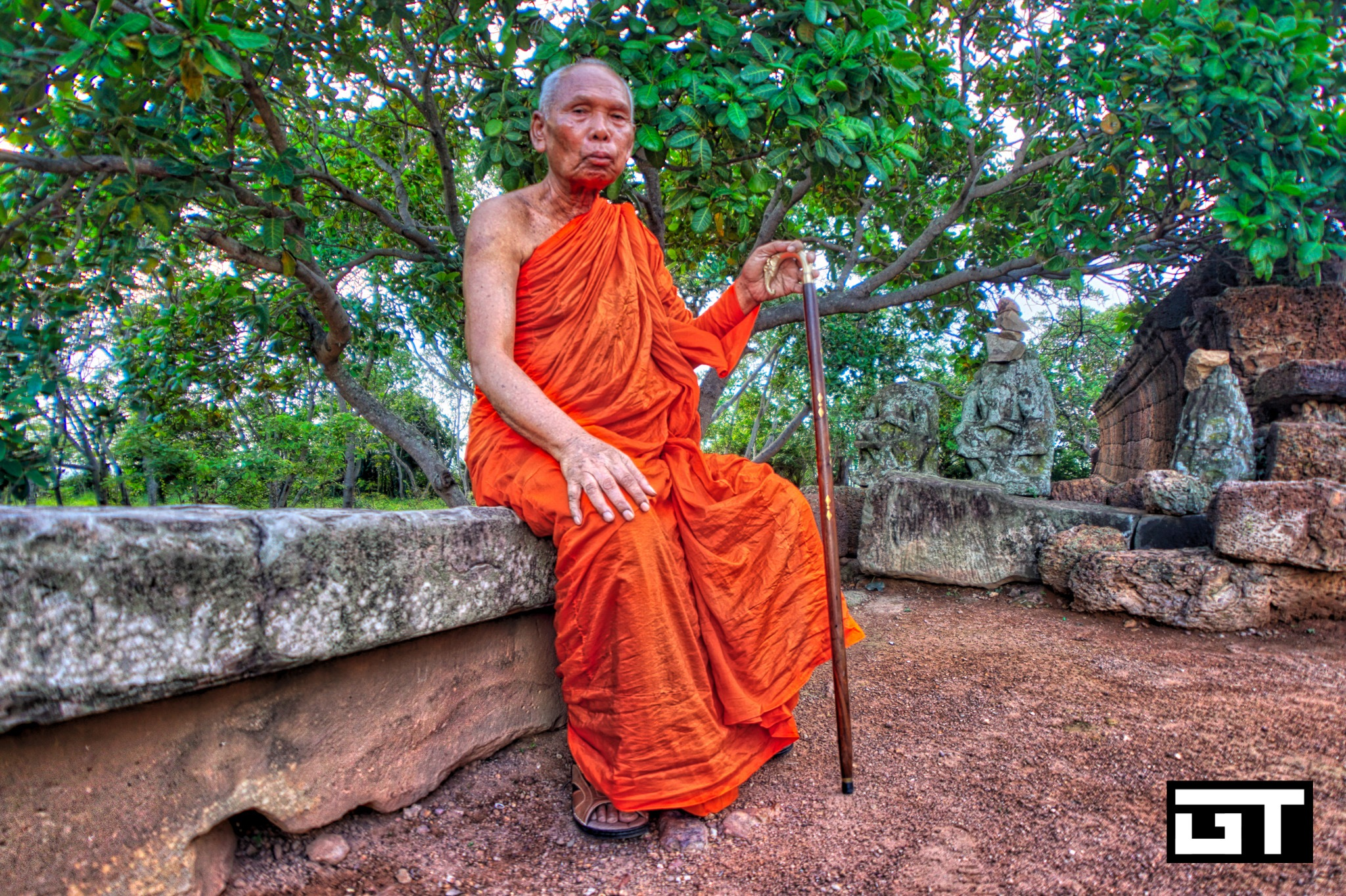 Monk from Thailand visiting Cambodia by Gabe Taviano