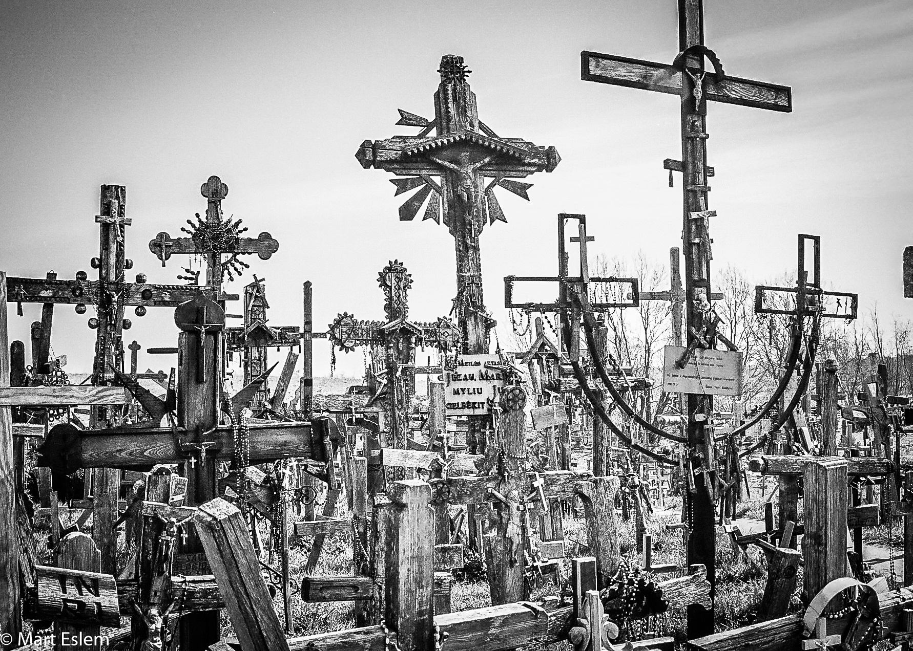 Photo in Black and White #hill #crosses #lithuania #siauliai
