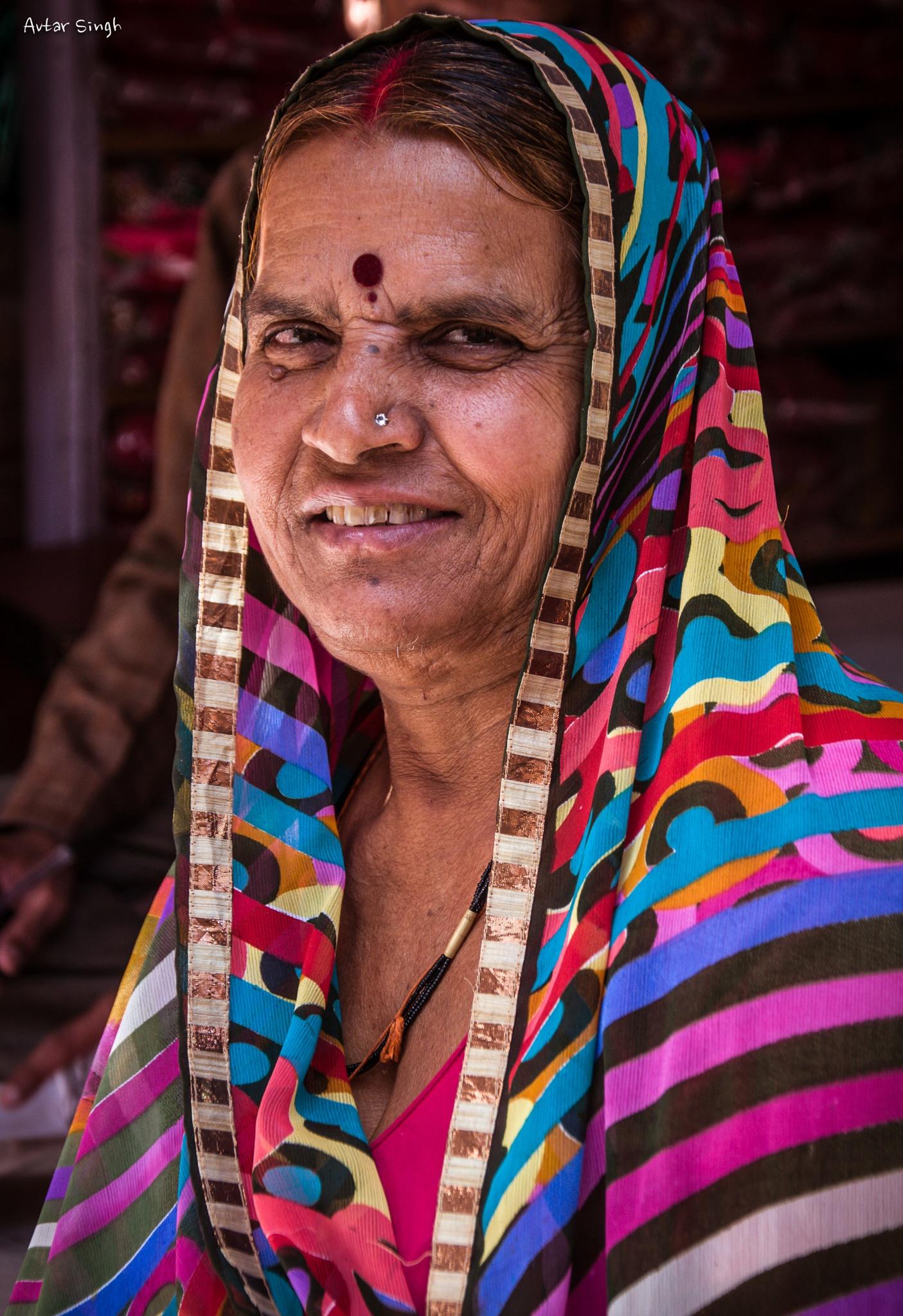 A portrait of Rajasthani Woman by Avtar Singh