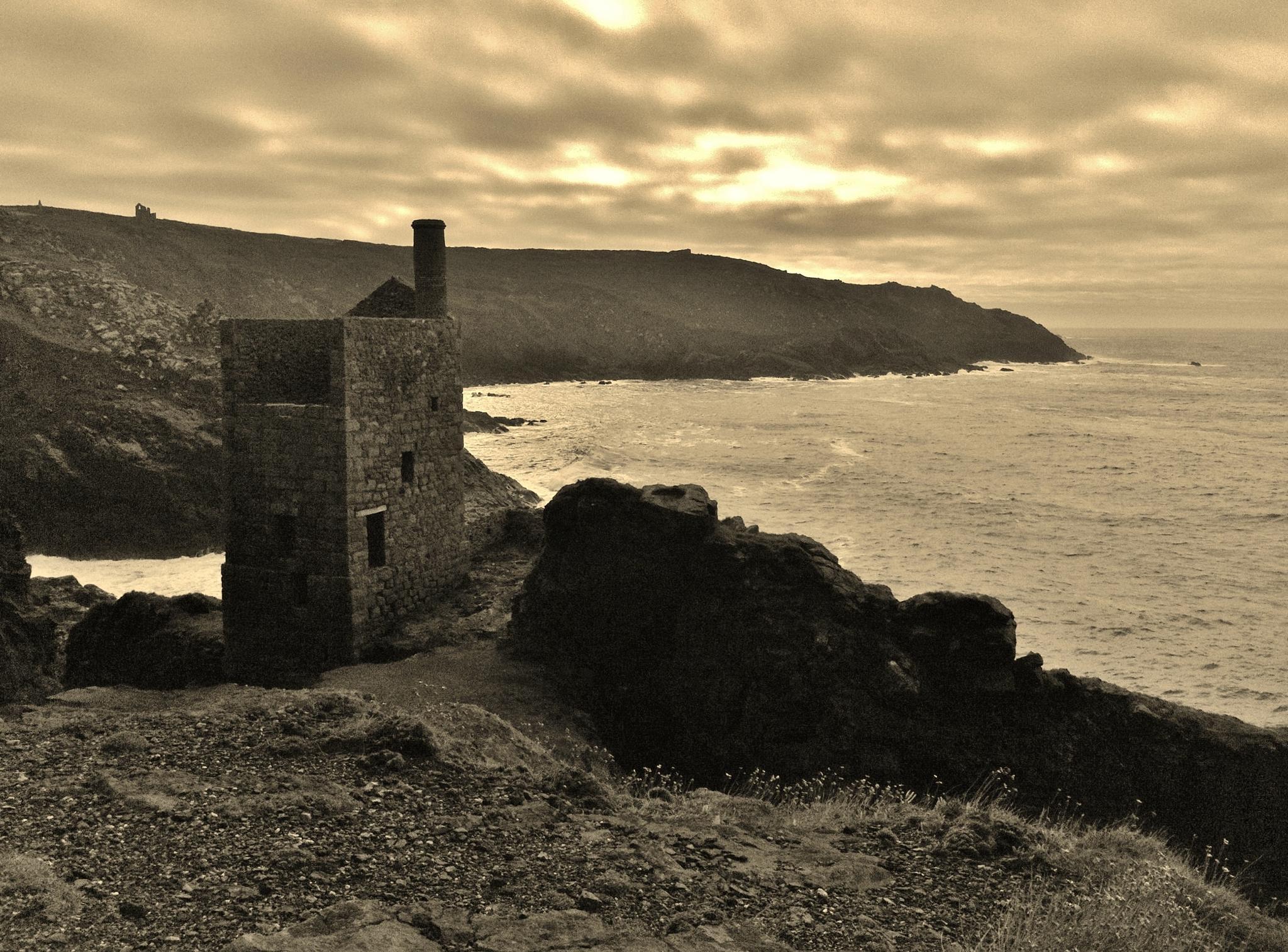 Photo in Landscape #mine #sea #cliffs #cornwall #crowns #bottallack