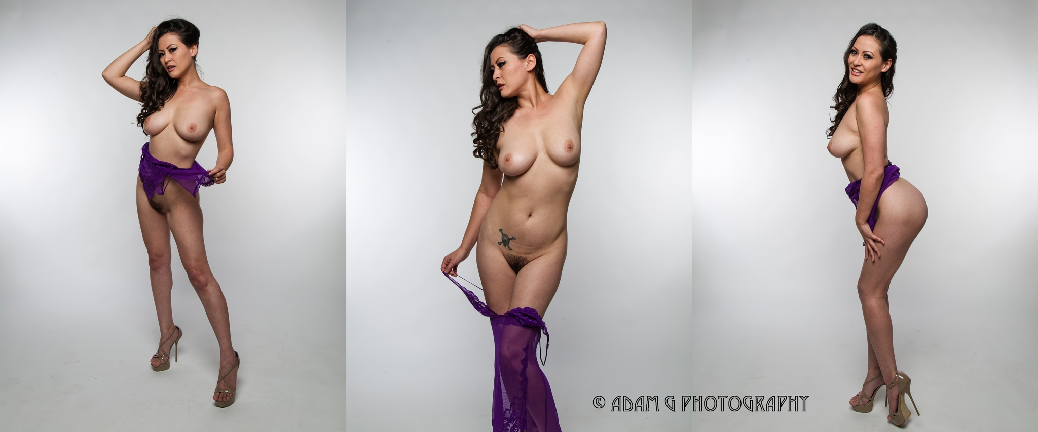 Photo in Nude #model #studio #nude #topless #lingere #purple #purple lingere #sexy #asian #natural