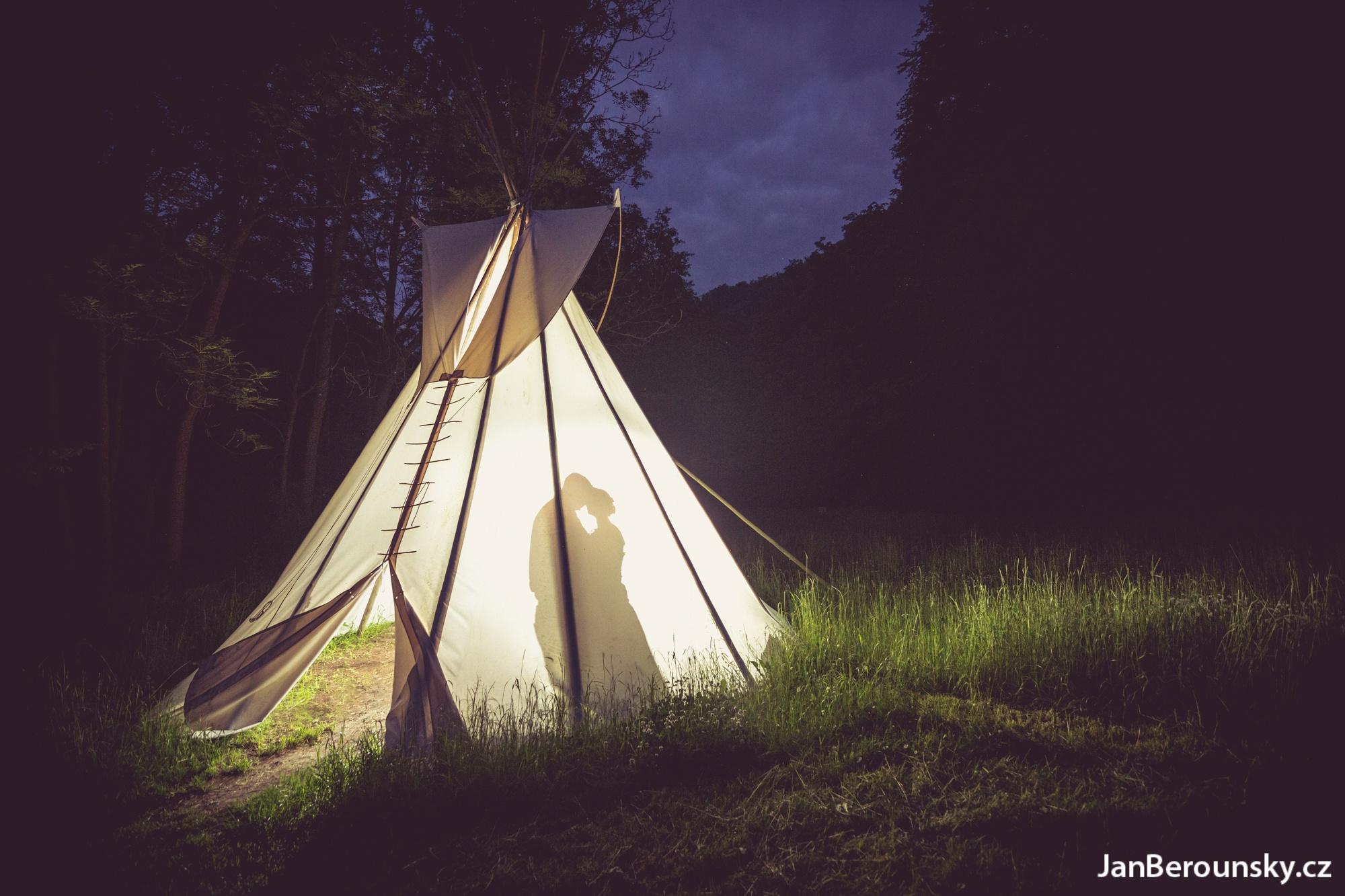 Photo in Wedding #wedding #bride #portrait #husband #teepee #night #strobe #tent #outdoor #forest #grass #married #nature #silhoutte #pair #love