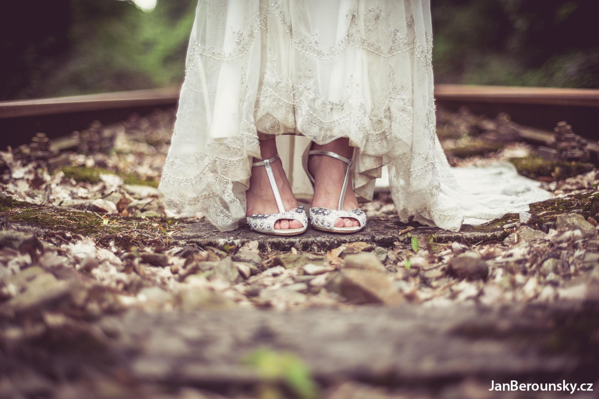 Photo in Wedding #wedding #marry #married #bride #love #railway #outdoor #bokeh #shoes #dress #couple