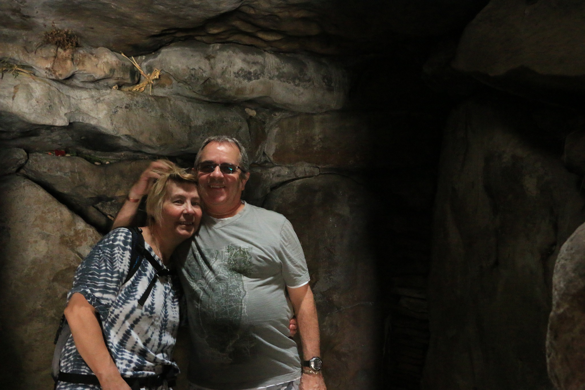 My Wife and I Inside Kennet Long Barrow by Andy Gower