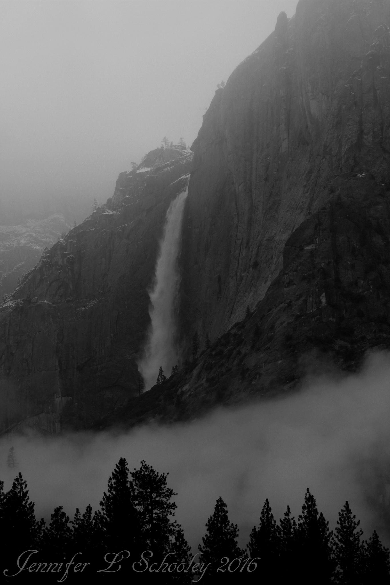 Yosemite Falls - Winter Storm - March 2016 by Jennifer Schooley