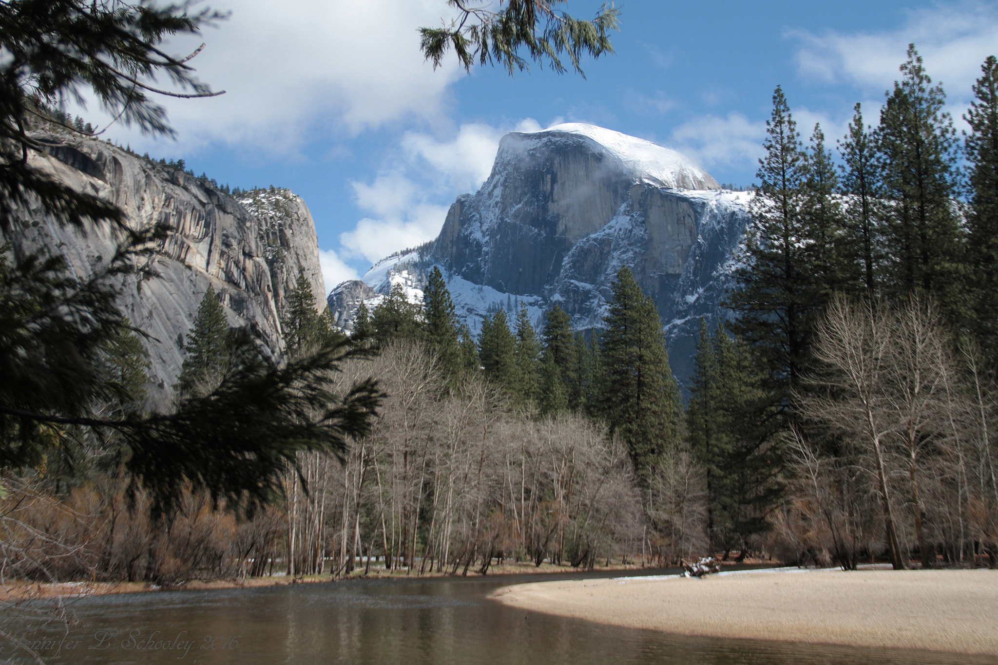 Snowy Half Dome Between Storms - March 2015 by Jennifer Schooley