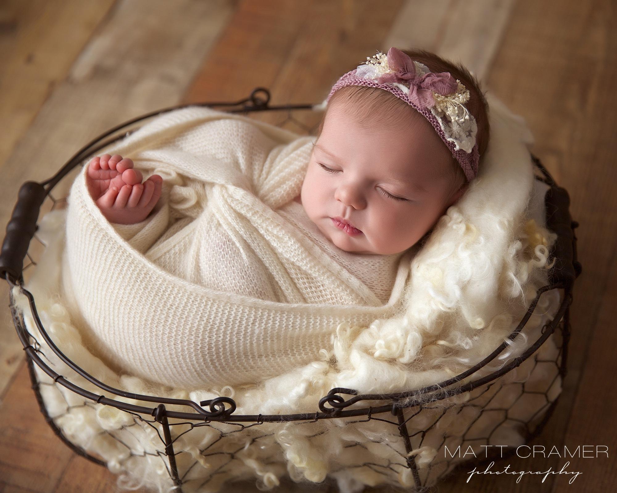 Newborn Baby Girl in Vintage Basket by Los Angeles Newborn Photography   Matt Cramer Photography