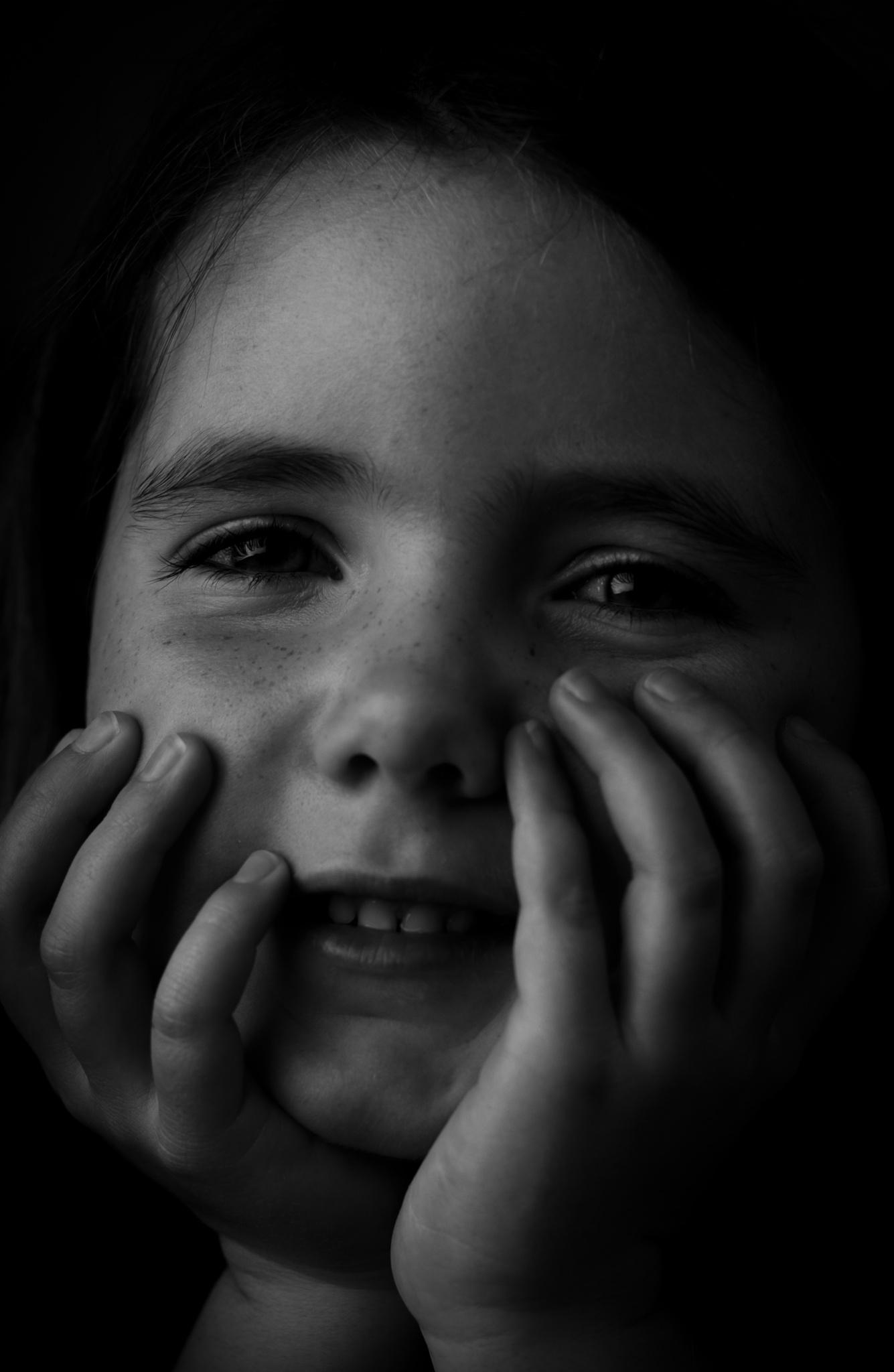 Photo in Black and White #black and white #drama #lighting #child #daughter