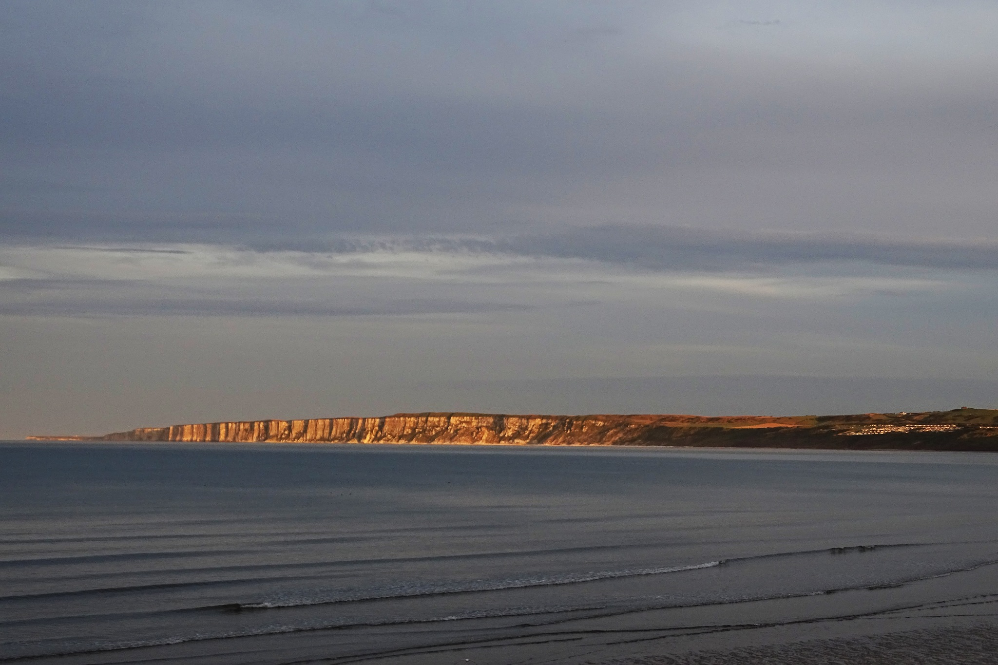 Evening light on the Cliffs from Filey. by kayThornton