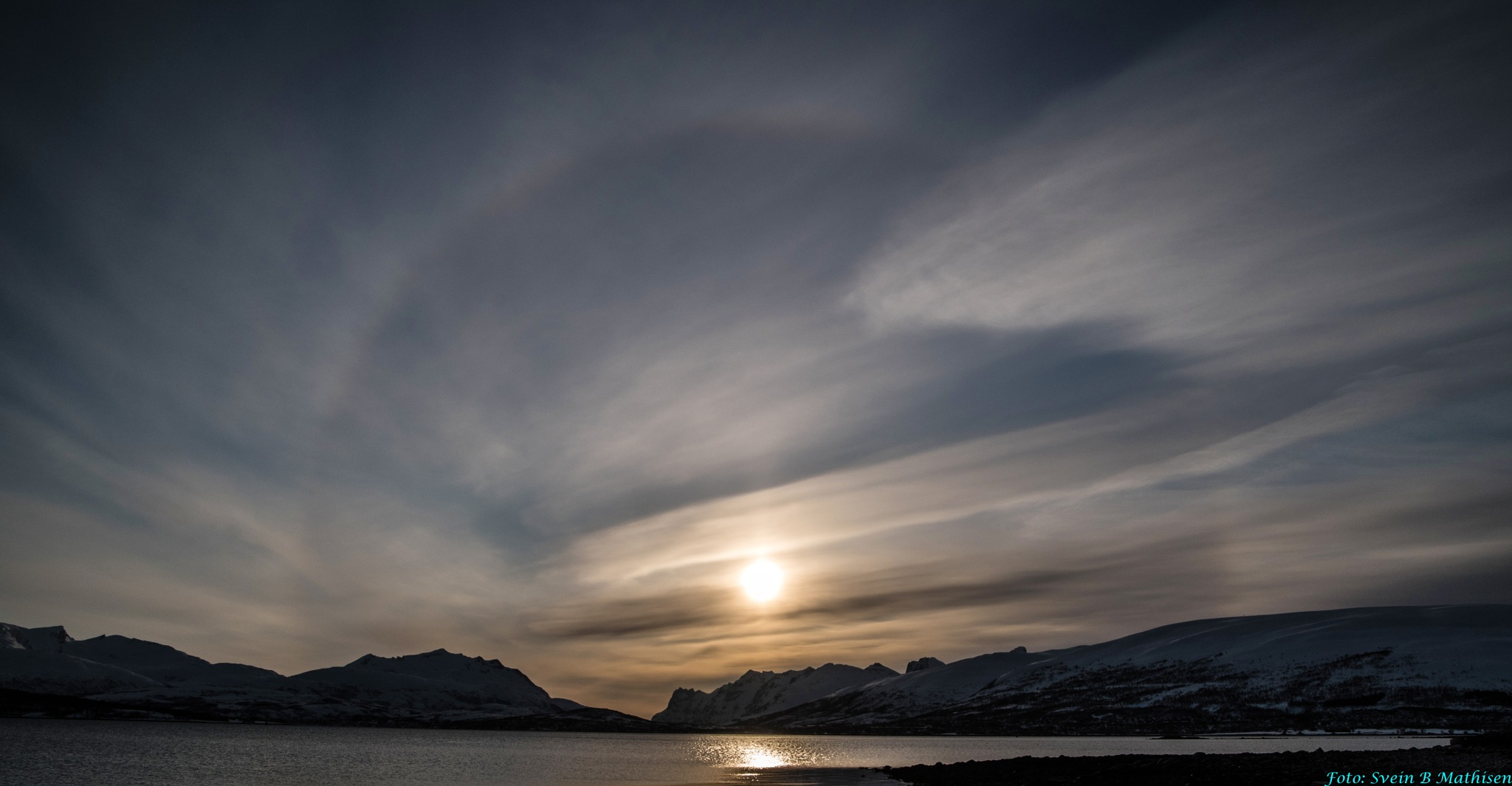 Photo in Nature #sun #sunset #sky #clouds #water #sea #seascape #mouintain #snow #winter #reflection