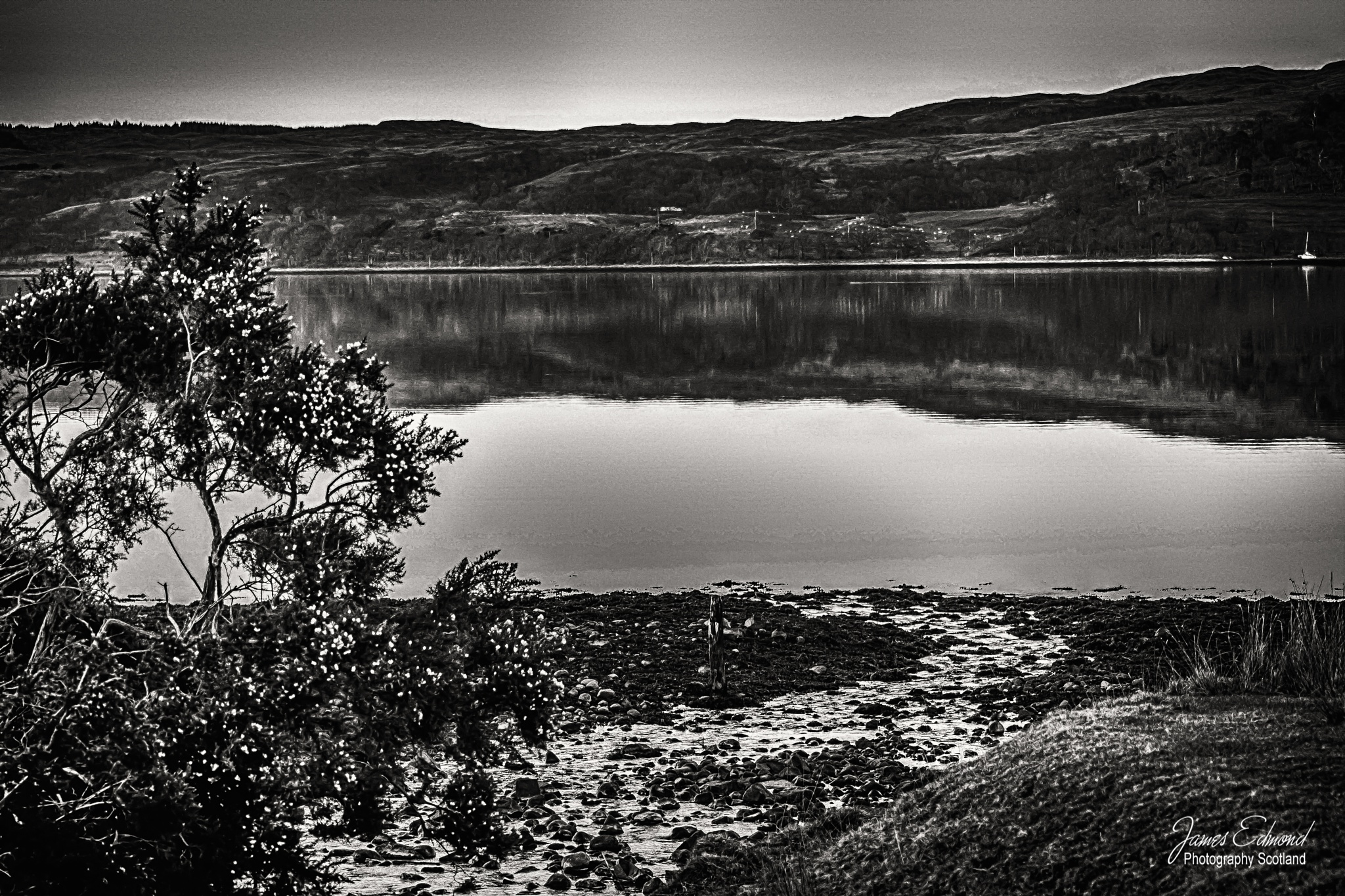 Monochrome of the Hills overlooking Loch Etive by James Edmond Photography