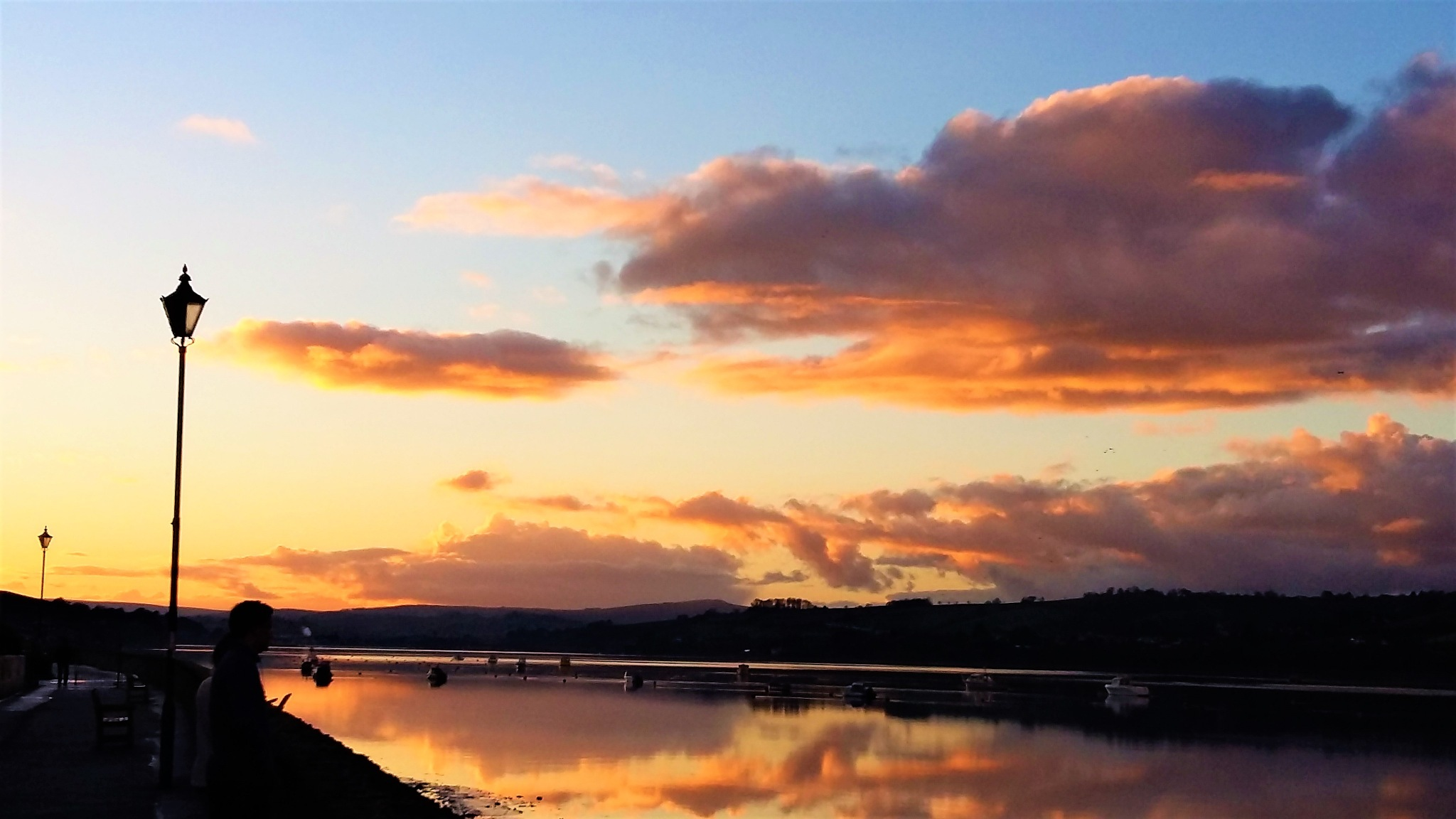 Sunset over the Teign Estuary by Sandra Wright