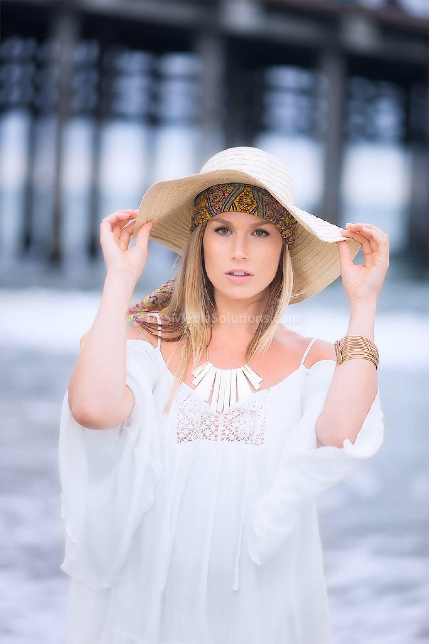 Photo in Portrait #model #female model #niki rae #beach #ocean #david k. smith #dks media solutions #santa monica pier #santa monica beach #santa monica #white sundress #sundress #head scarf #hat #straw hat #white straw hat #white hat