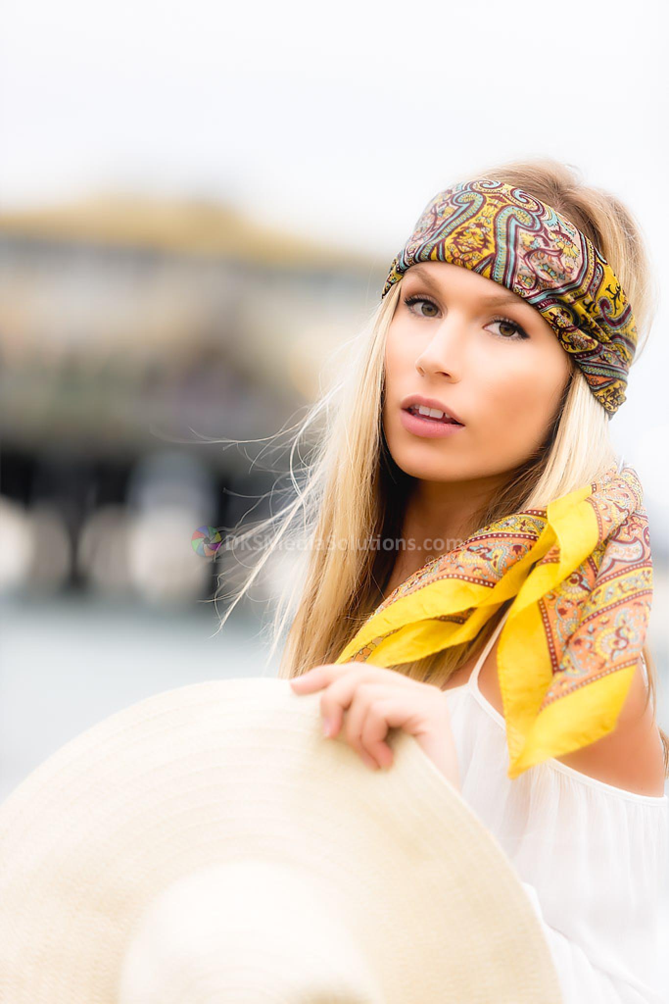 Photo in Portrait #model #female model #niki rae #david k. smith #dks media solutions #straw hat #white straw hat #white sundress #sundress #pier #santa monica pier #gold head scarf #head scarf #scarf #patterned scarf #blond #santa monica