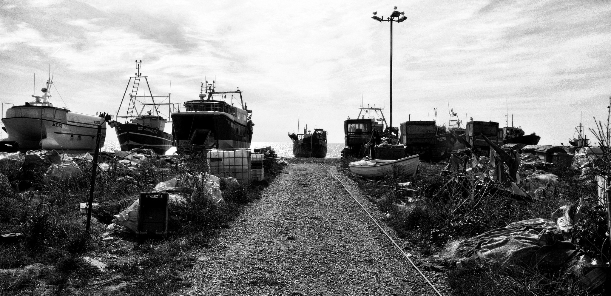 Pathway to Beached Boats by Tony Gaitskell