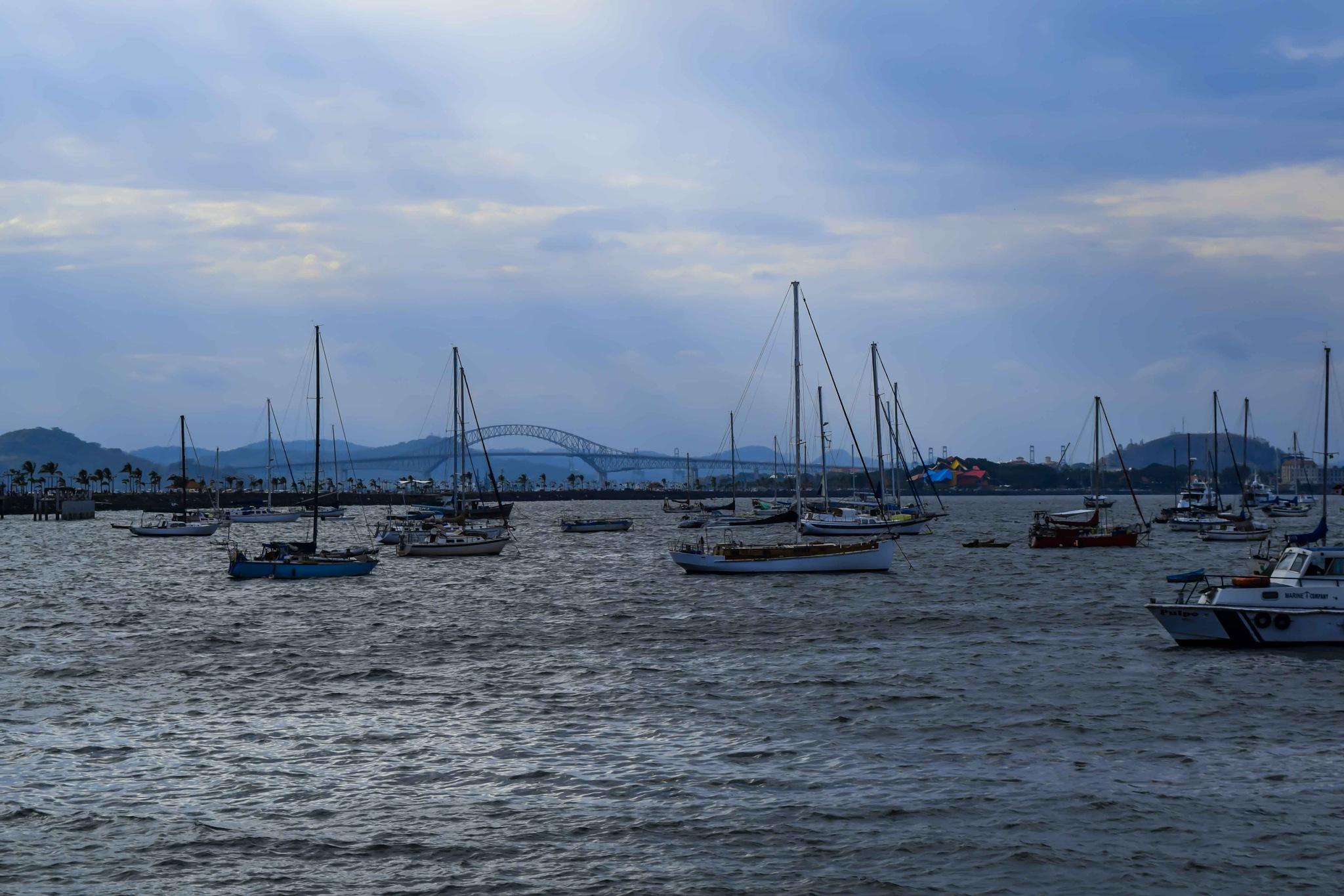 Bahía de Panamá, vista desde la Calzada de Amador. by Manuel Calderón Quintana.