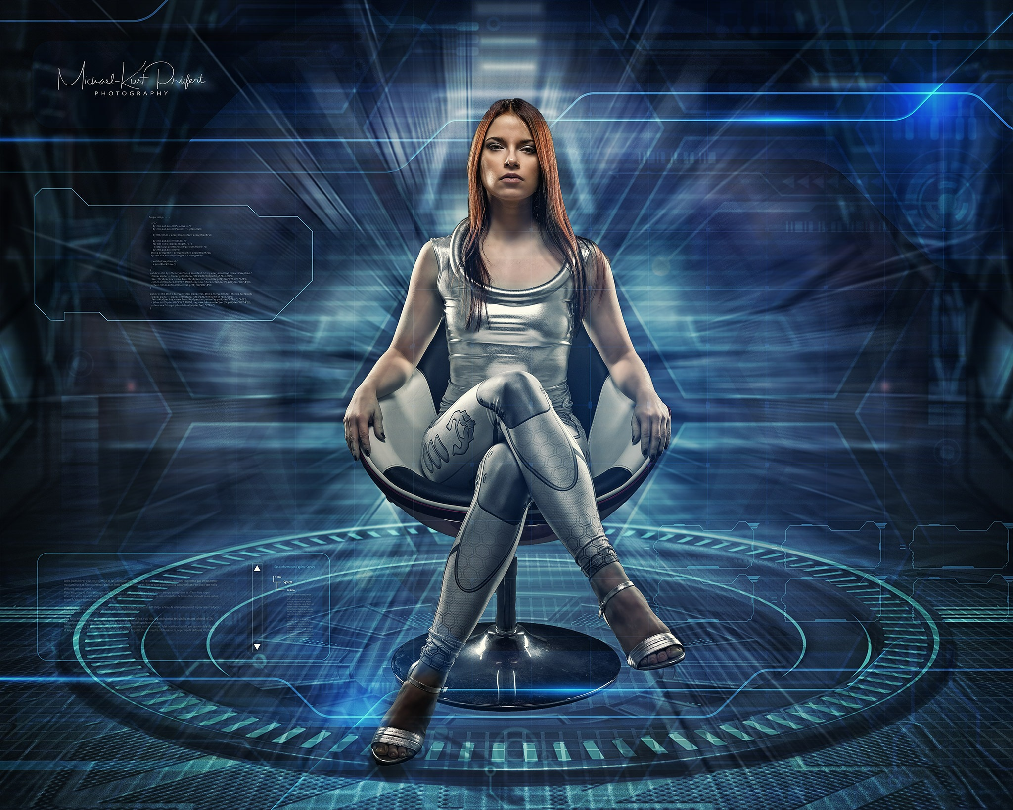 Photo in Fine Art #composing #photoshop #futuristic #spaceship #model #sexy #studio #chair #blue #beauty #sci-fi