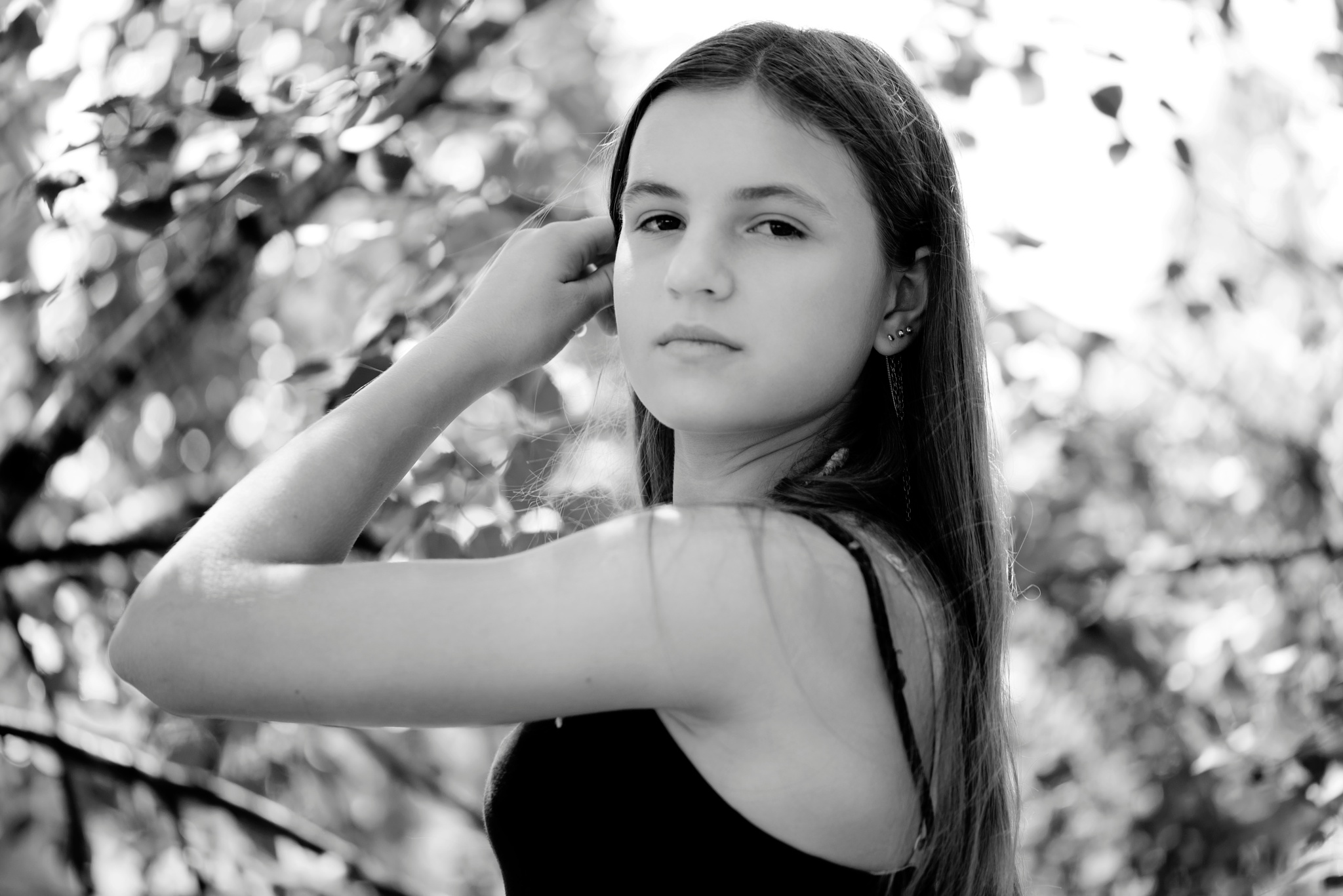 Photo in Black and White #black - white #portrait #close-up #girl