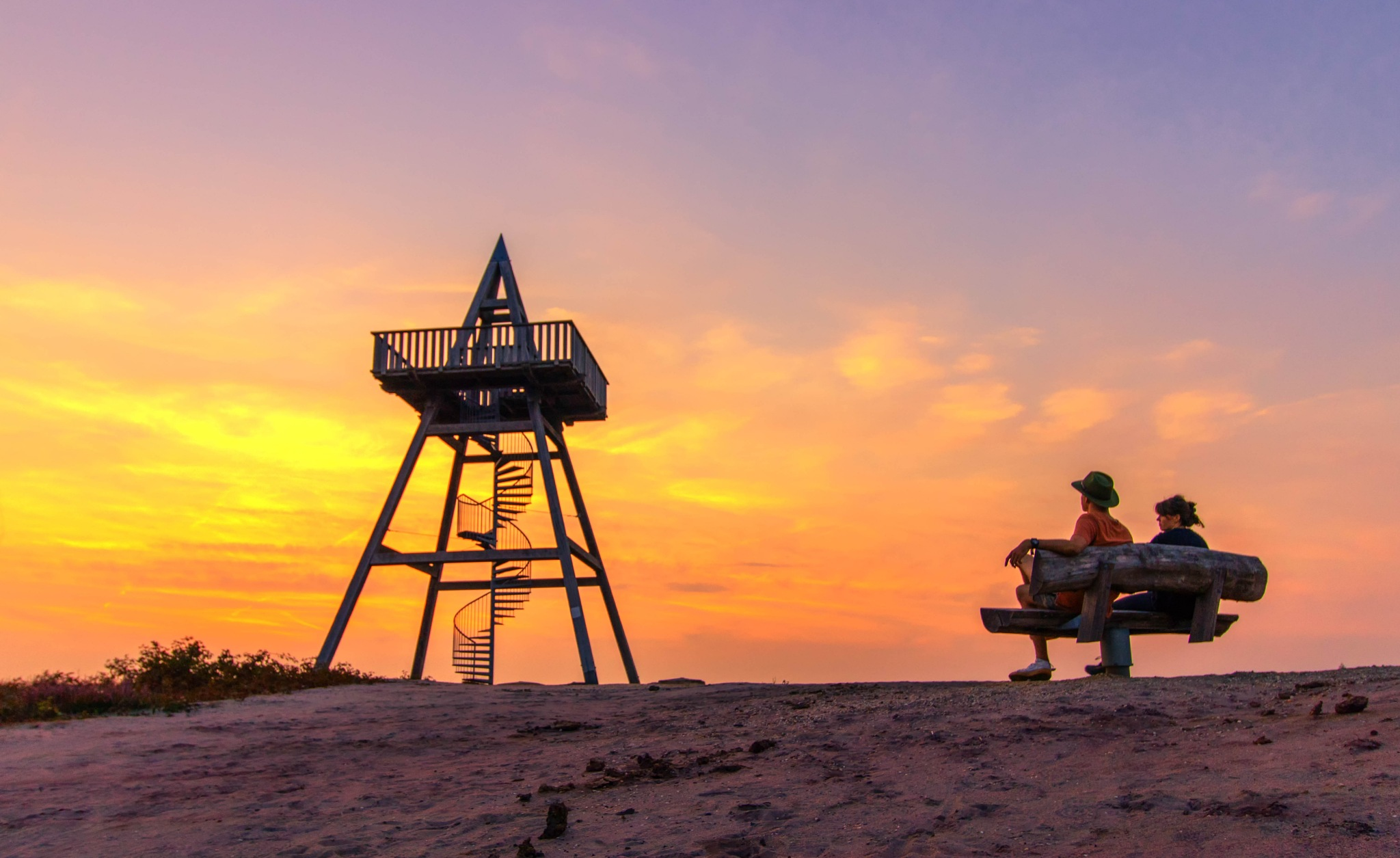 Enjoying the sunset at the observation tower by Theo Hermsen