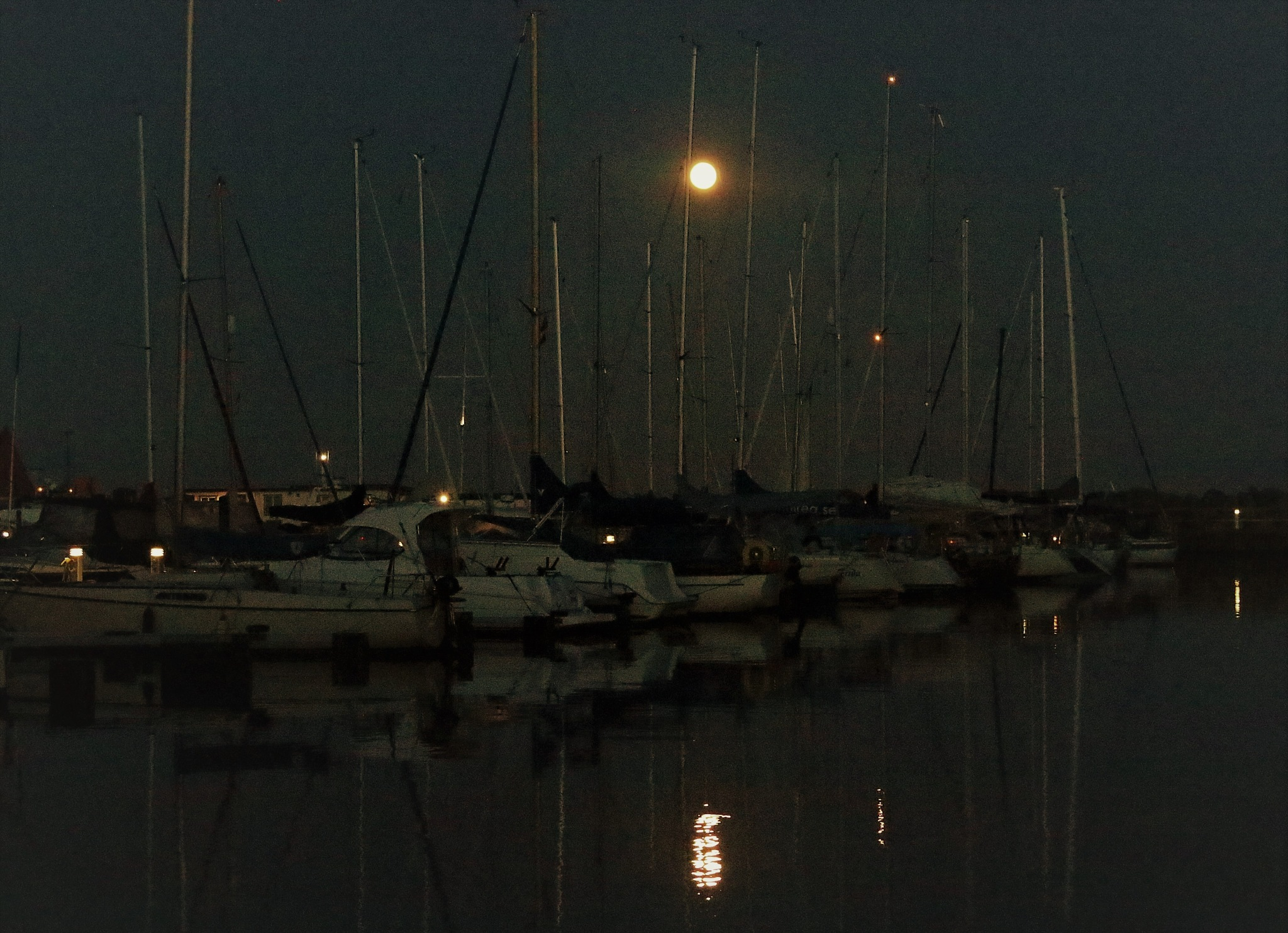 Full Moon over the Marina in My Hometown Ystad. by KerstinP.