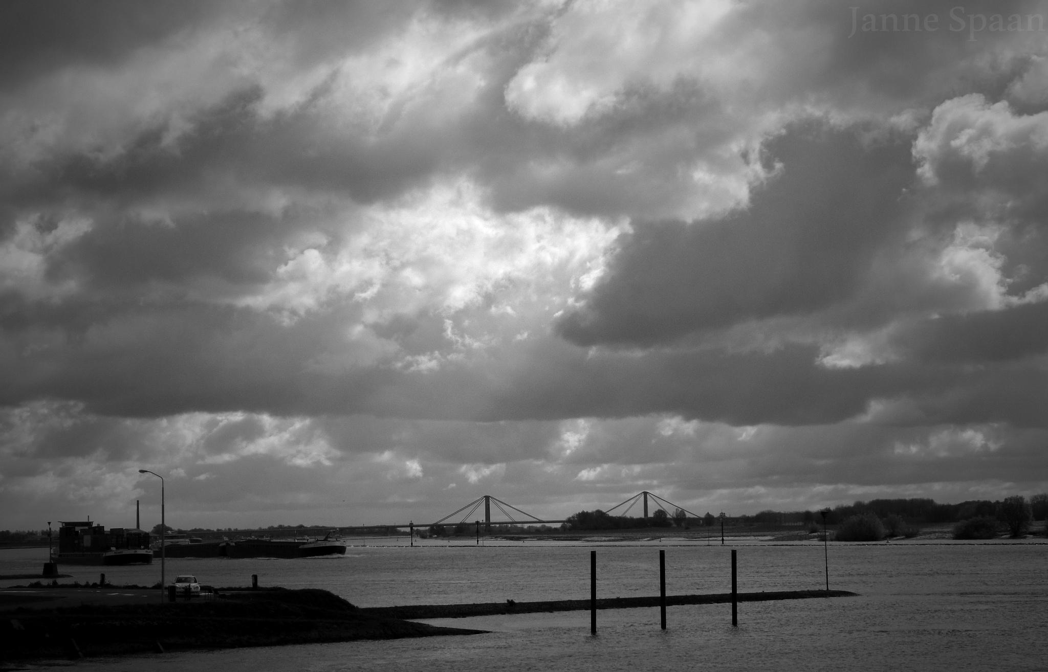 Photo in Black and White #waal #boat #bridge #b&w #clouds #dutchweather