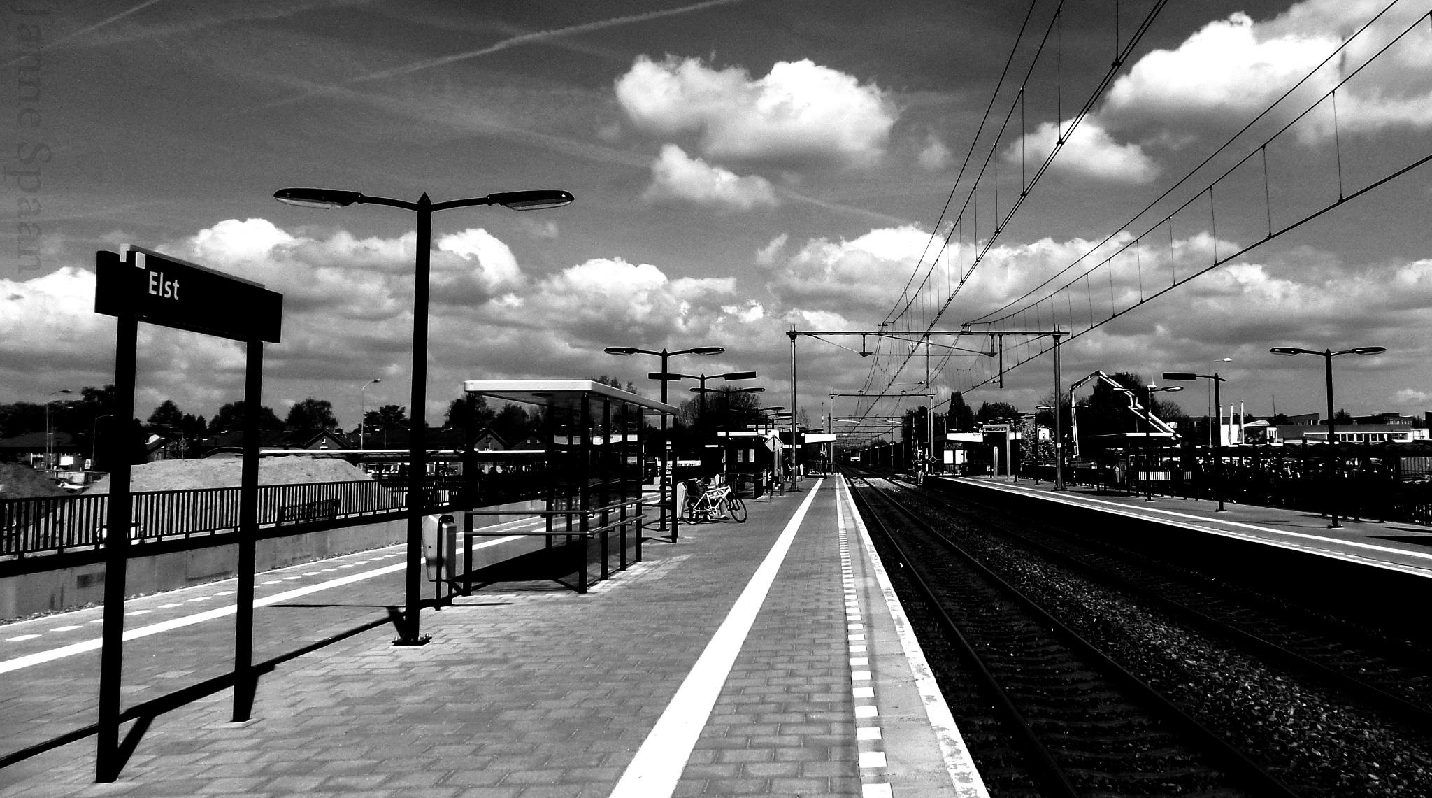 Photo in Travel #train #travel #b&w #clouds #trein #elst #station