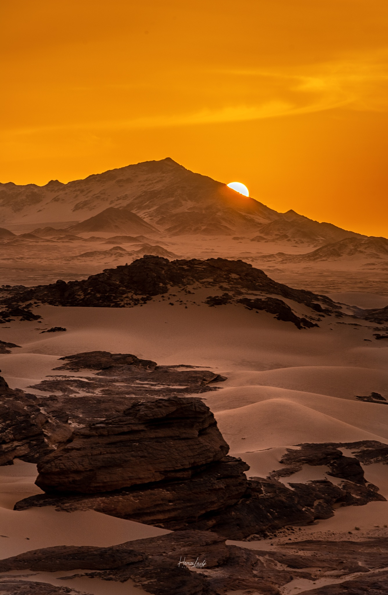 Photo in Landscape #sunrise #sun #desert #mountains #stone #rocks #sand #red #yellow #nikon d7100 #algeria