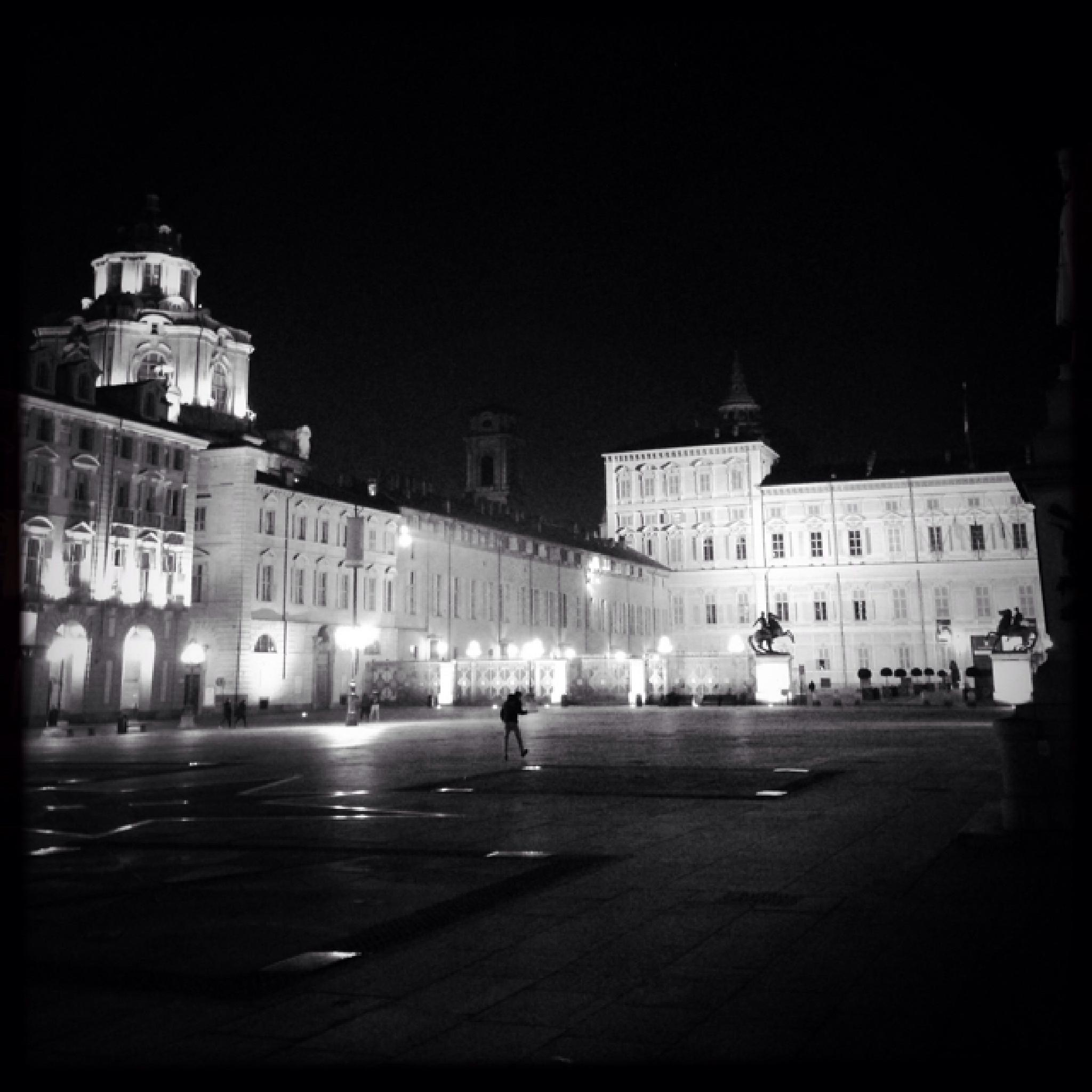 Night in Turin - Piazza Castello by Silvano Pupella