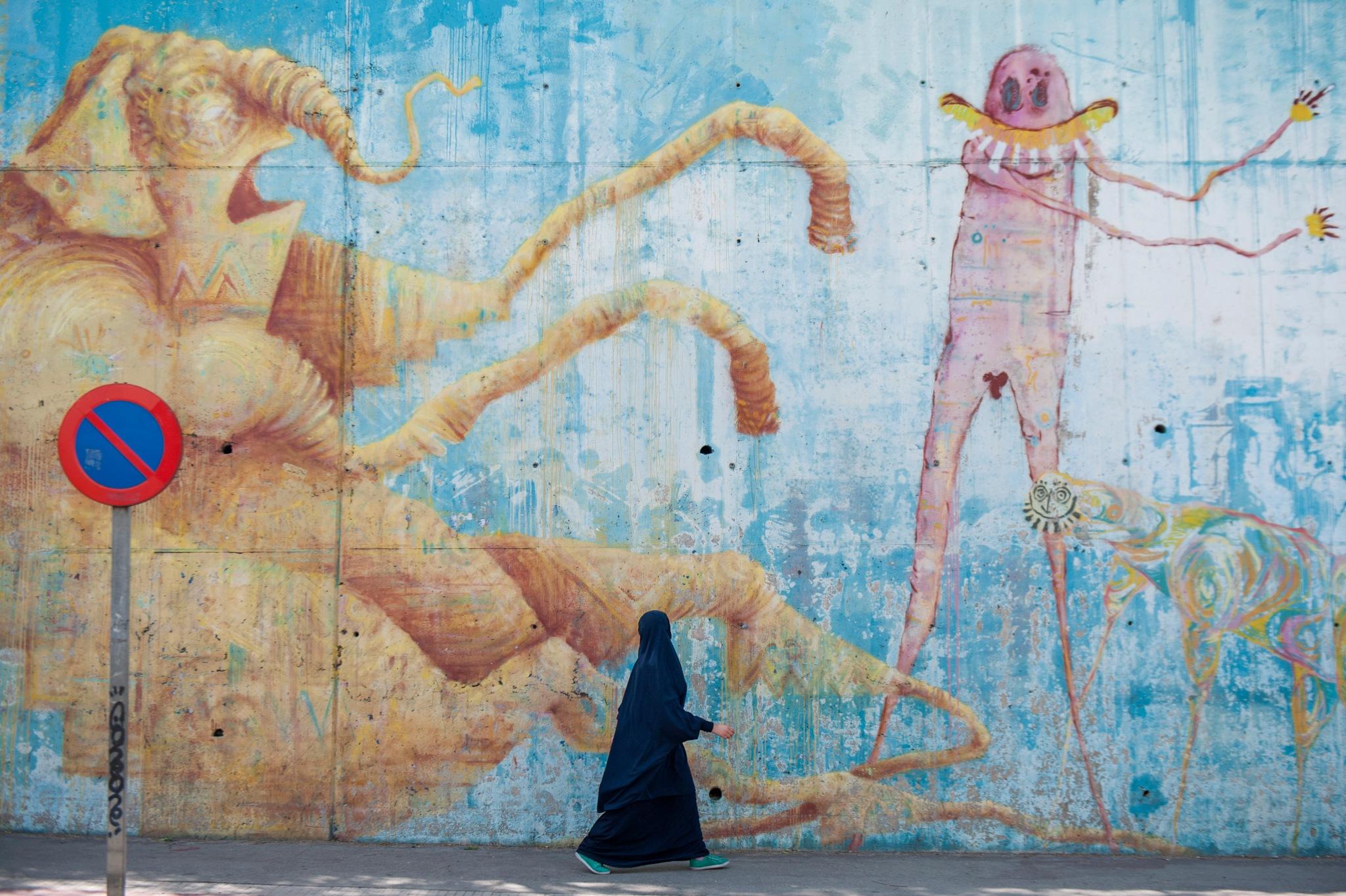 Photo in Street Photography #street art #graffiti #muslim #sport shoes #spain #villalba #shopping #demons