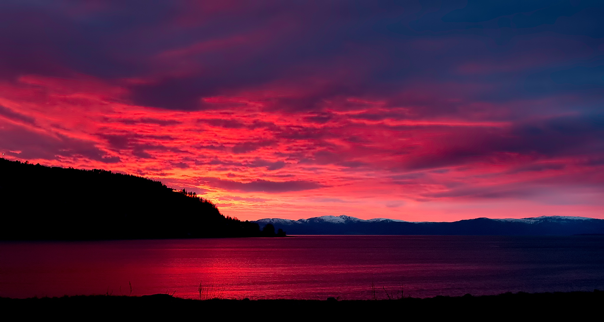 Photo in Landscape #red #skies #sky #sunset #norway #landscape #redskies
