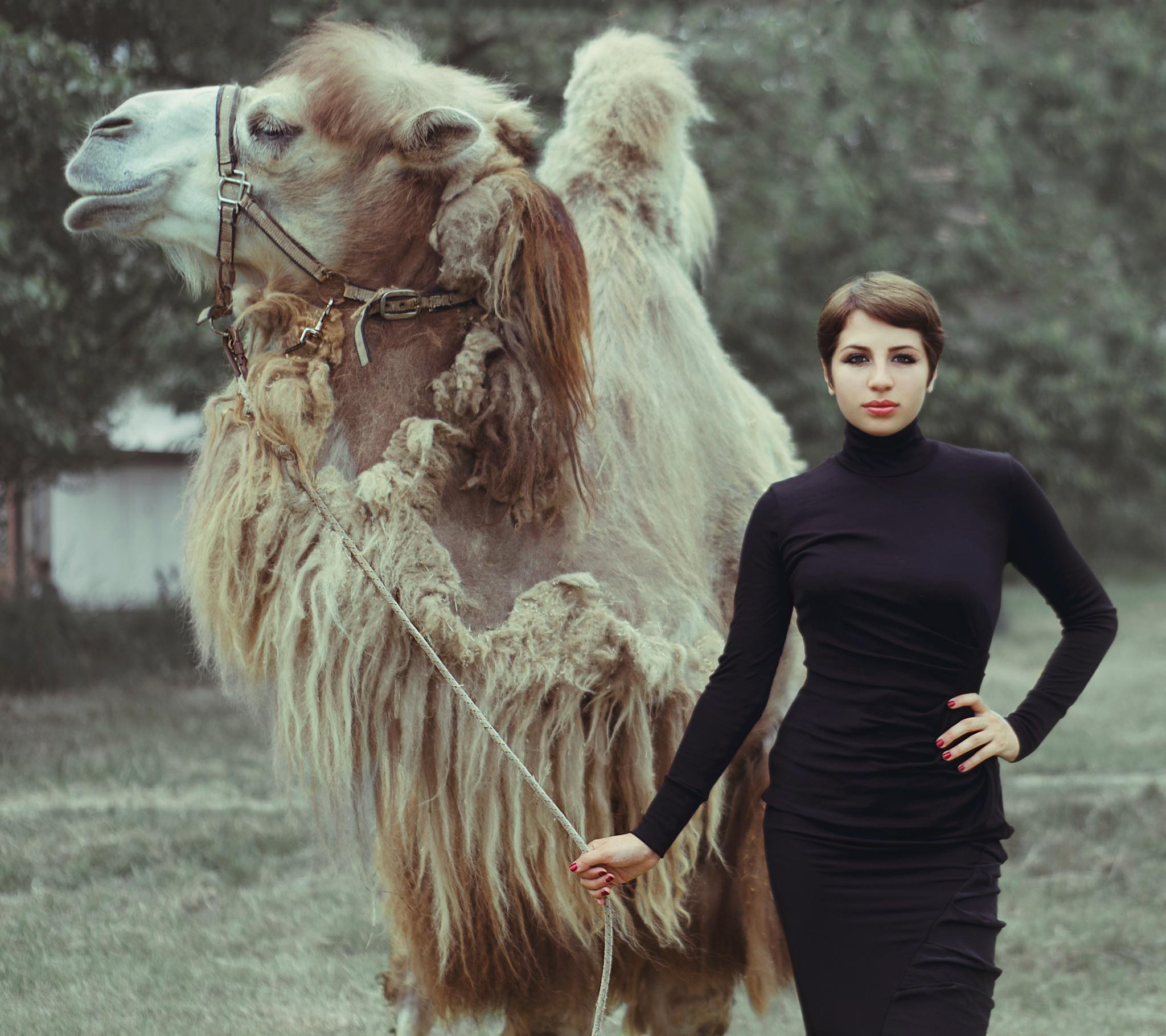 camel dress by Vladimir Kolev