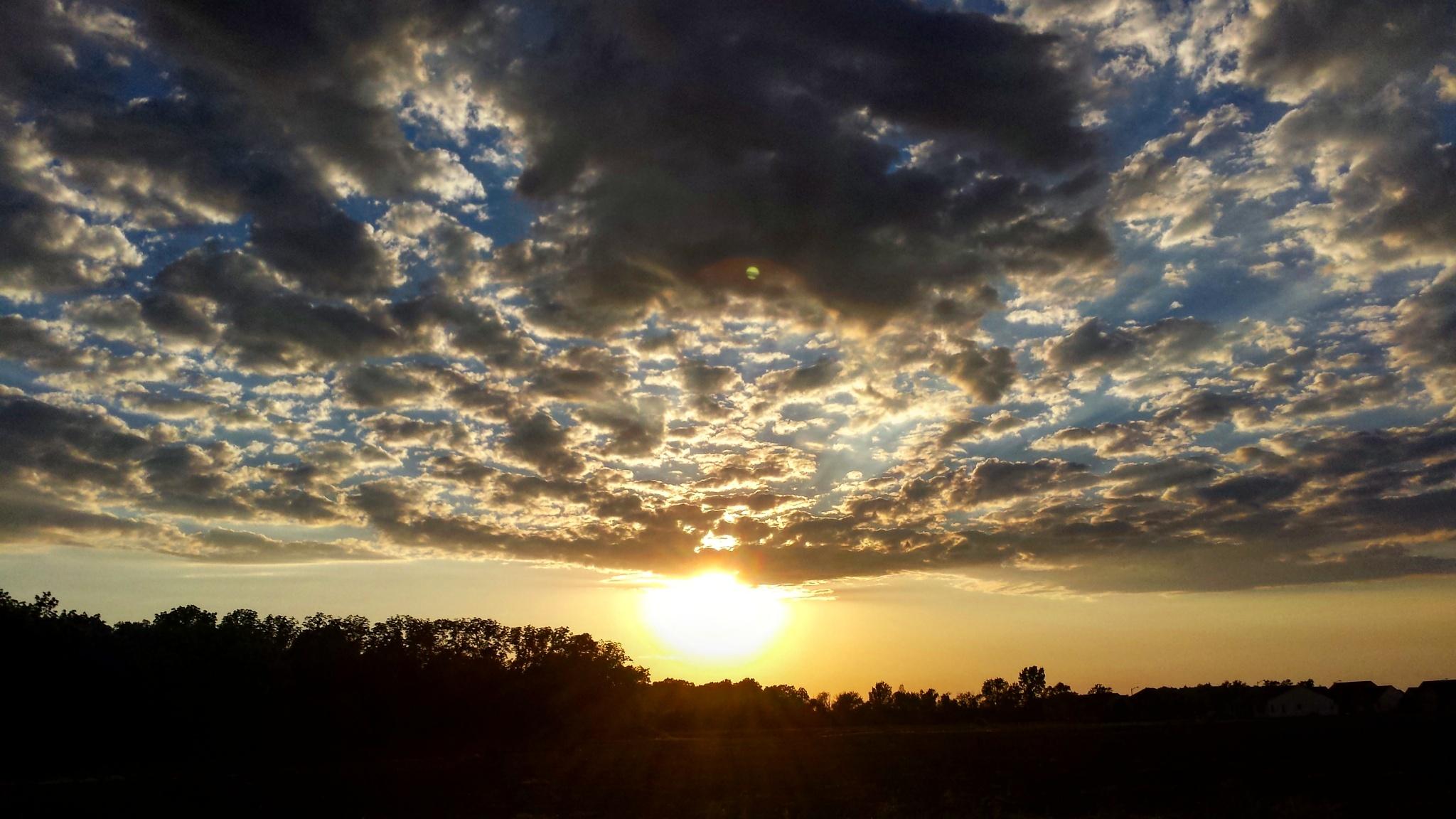 Photo in Nature #sunset #sun #evening #sky #skyline #stormy weather #weather #nature #nature photography #outdoor photography #no filter #nwohio #ohio #clouds #cloudscape #lamdscape #colors #colors of nature #photography #contrast #tree line #horizon