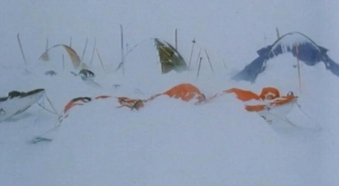Camp in Antarctica after snow storm by Hallgrim Ødegård