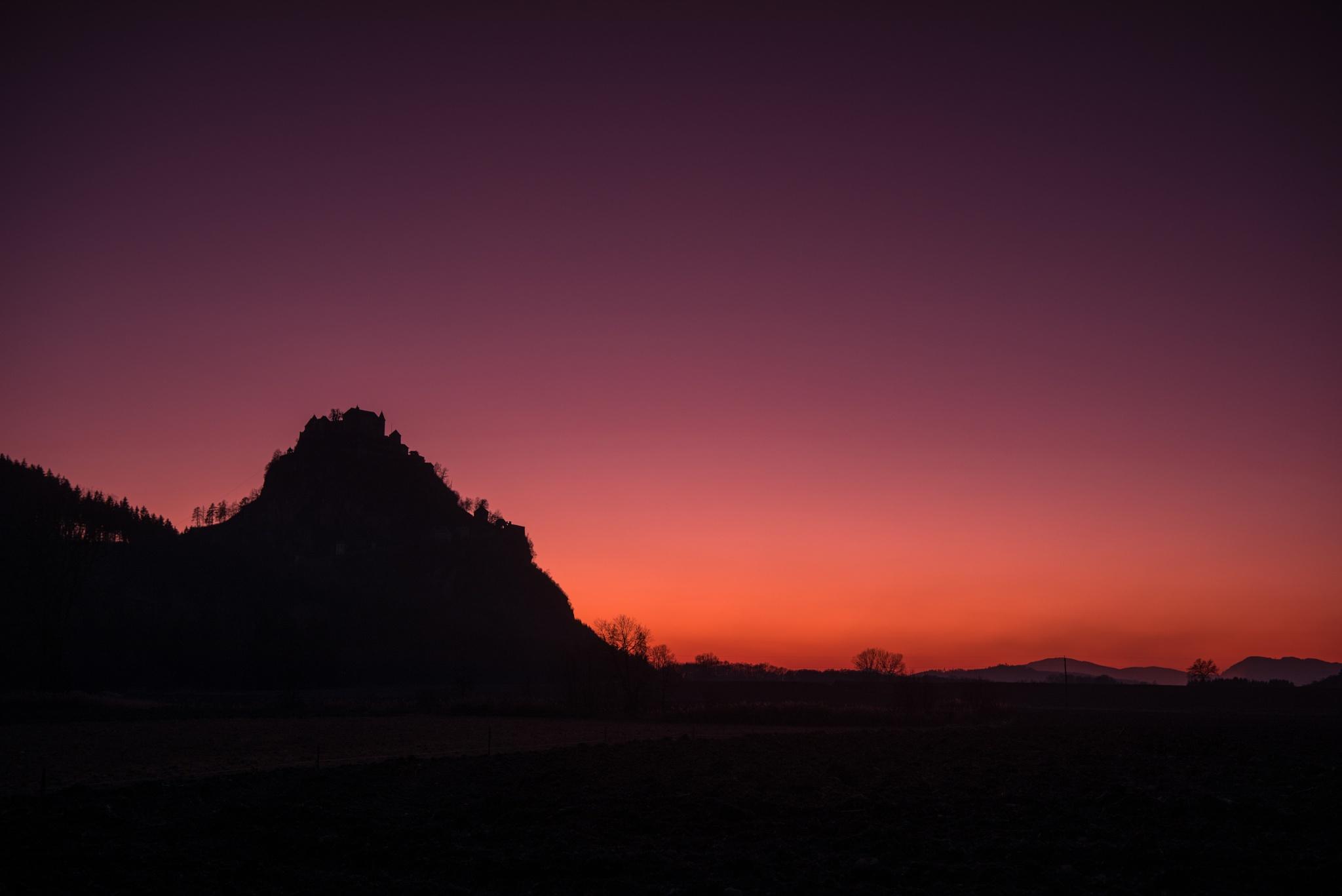 Photo in Landscape #castle hoche osterwitz at dusk #sunset #castle #hochosterwitz #sky