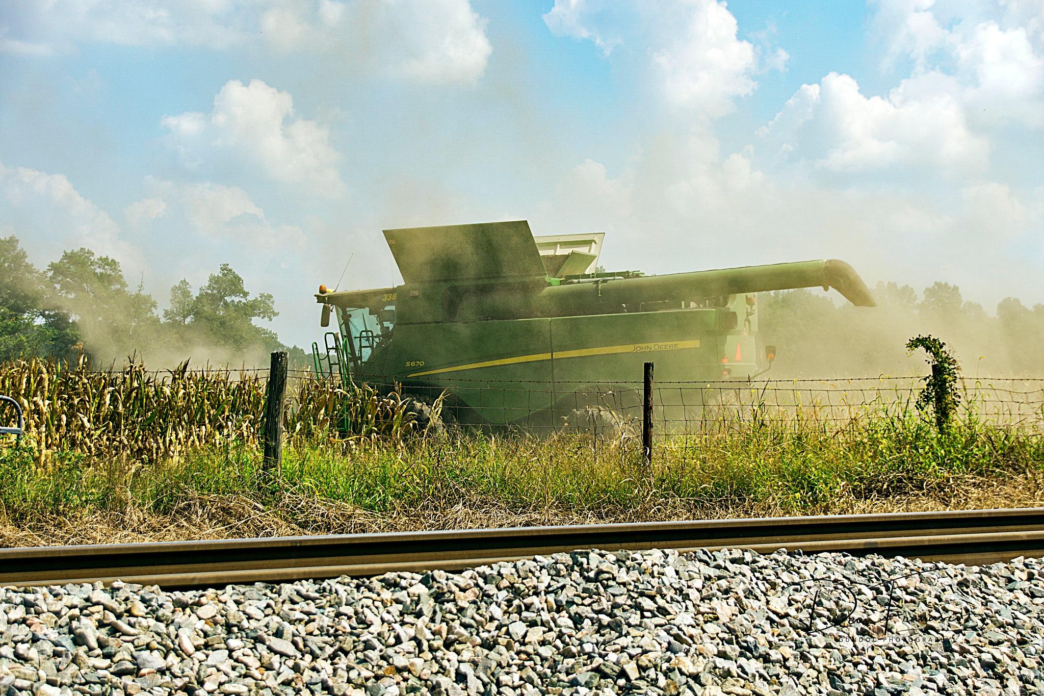 John Deere Corn Harvester staring a new field by Dean Francisco