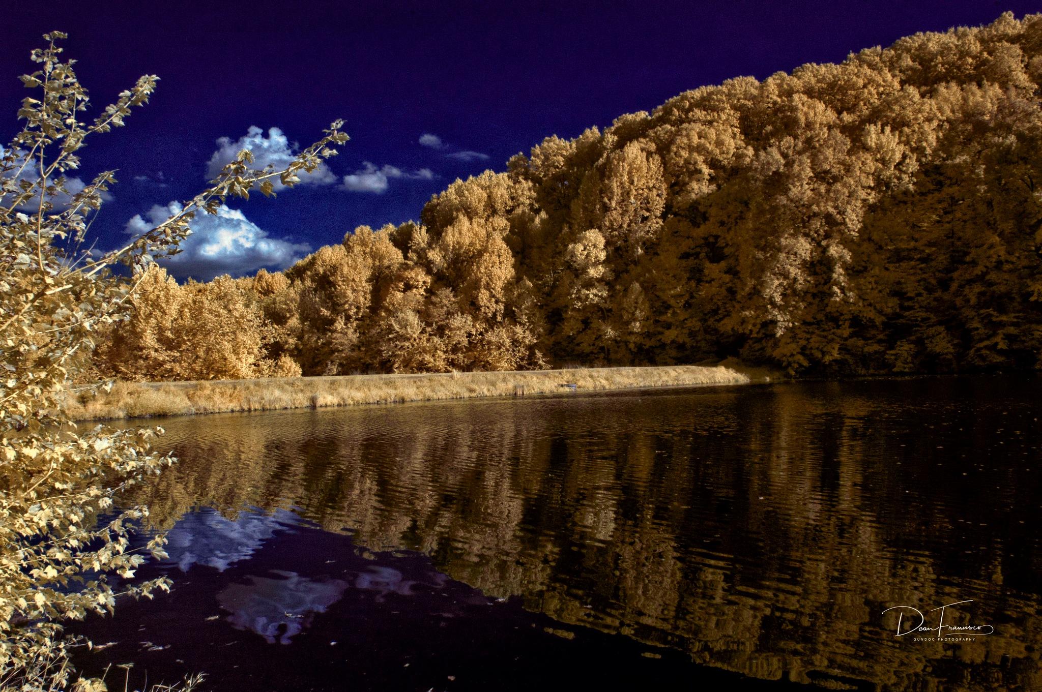 Tom Wallace Lake Dam in IR by Dean Francisco